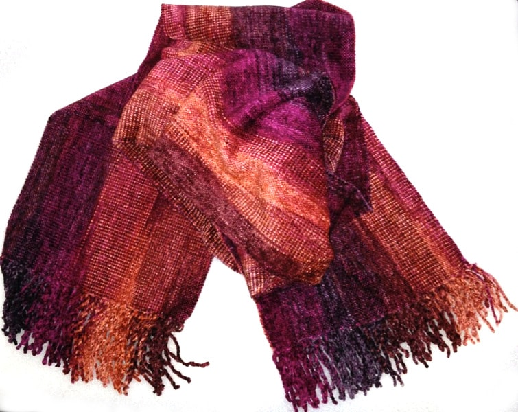 Raspberry, Apricot - Bamboo Chenille Handwoven Scarf 8 x 68