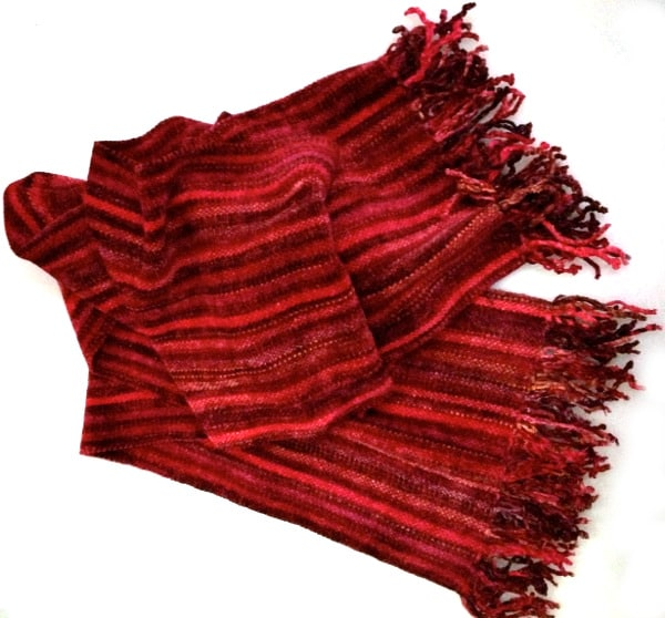 Red Micro Stripes - Bamboo Chenille Handwoven Scarf 8 x 68