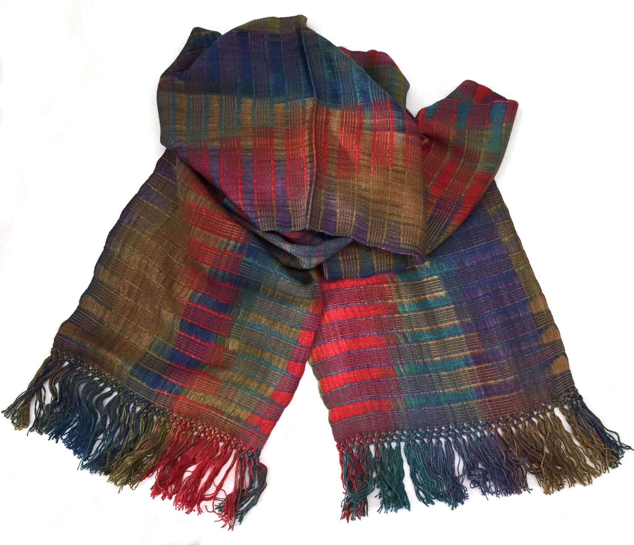 Red, Olive, Brown, Blue, Purple - Lightweight Bamboo Open-Weave Handwoven Scarf 8 x 68