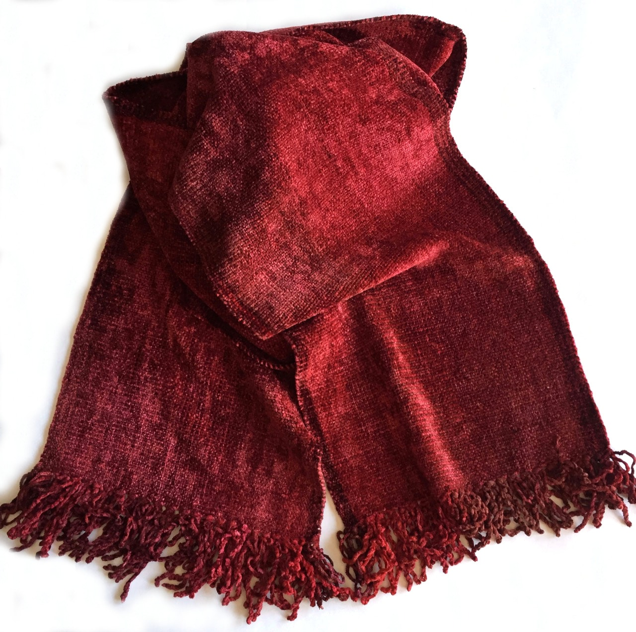 Reds - Bamboo Chenille Handwoven Scarf 8 x 68