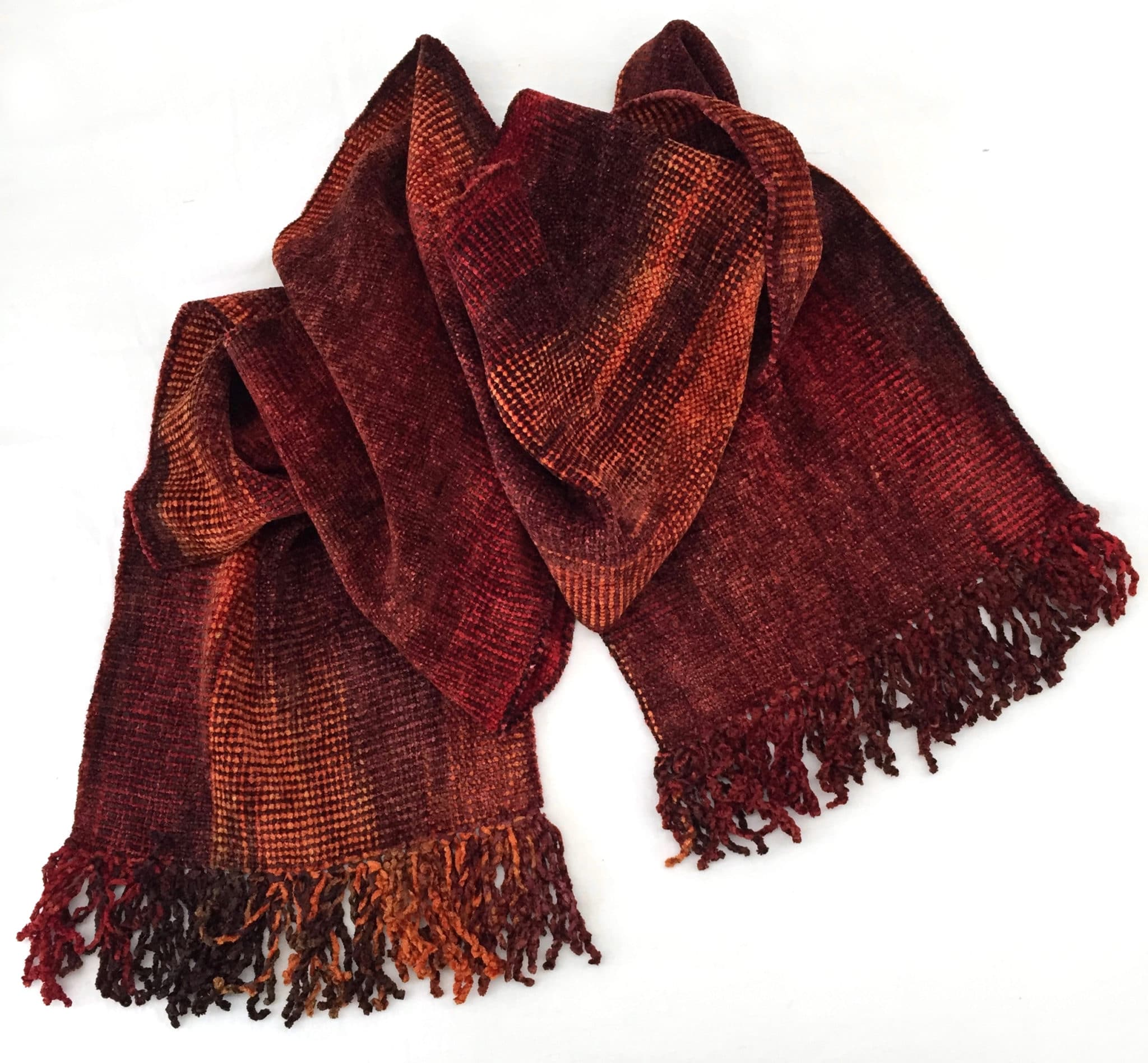 Rich Reds, Copper - Bamboo Chenille Handwoven Scarf 8 x 68