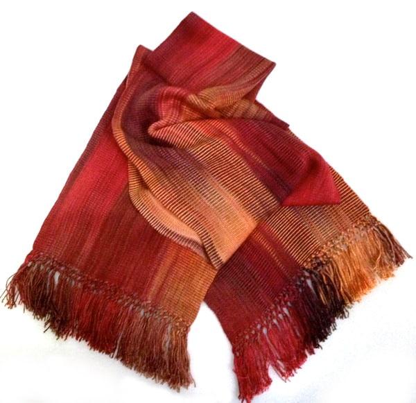 Rich Reds, Copper - Lightweight Bamboo Handwoven Scarf 8 x 68