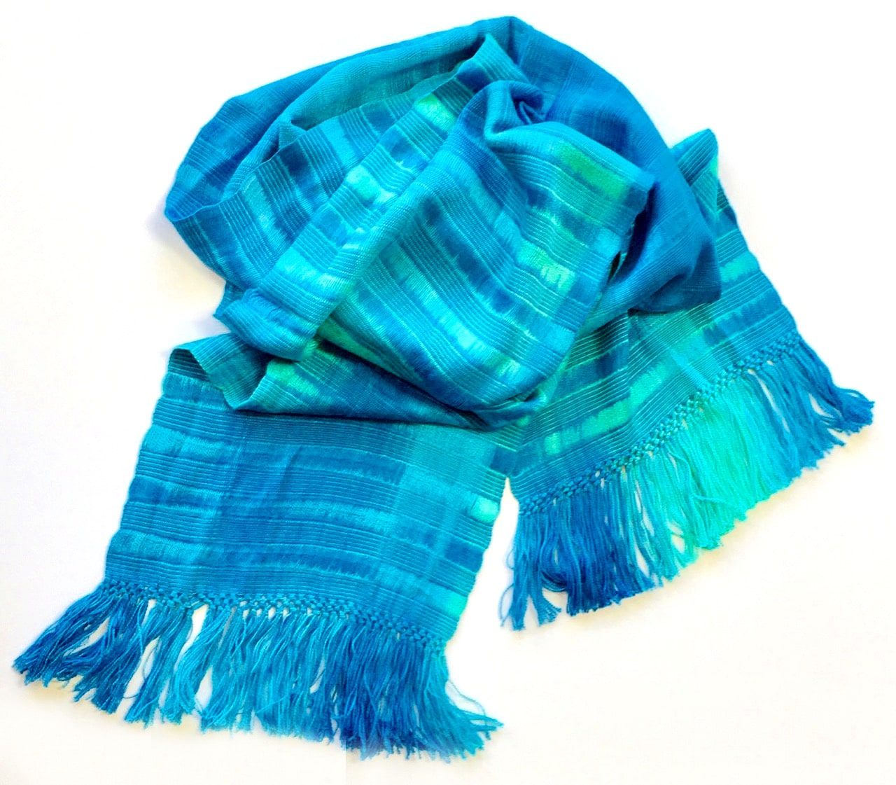 Turquoise, Celestial Blues - Lightweight Bamboo Open-Weave  Handwoven Scarf 8 x 68