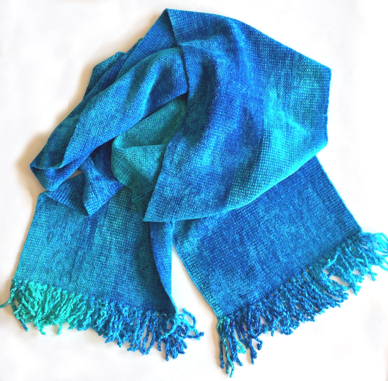Turquoise, Celestial Blues - Bamboo Chenille Scarf 8 x 68