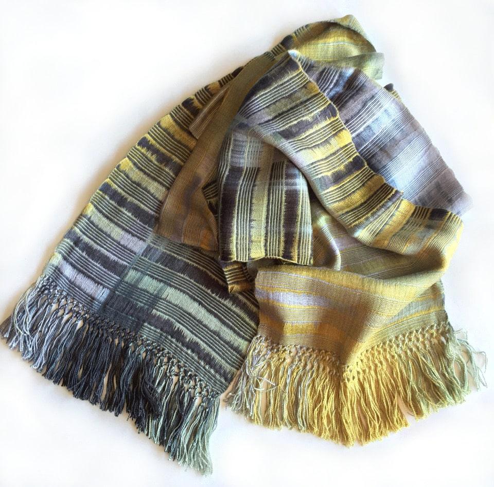 Gray, Gold, Black - Lightweight Bamboo Open-Weave Handwoven Scarf 8 x 68