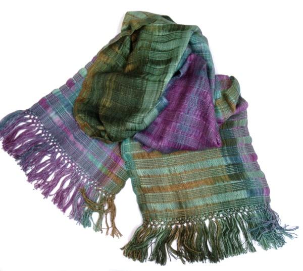 Green, Purple, Blue - Lightweight Bamboo Open-Weave Handwoven Scarf 8 x 68