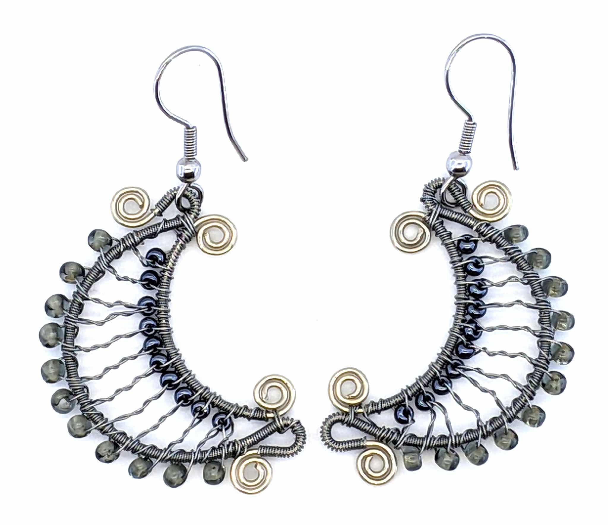 Crescent Moon Beaded Earrings - Grays