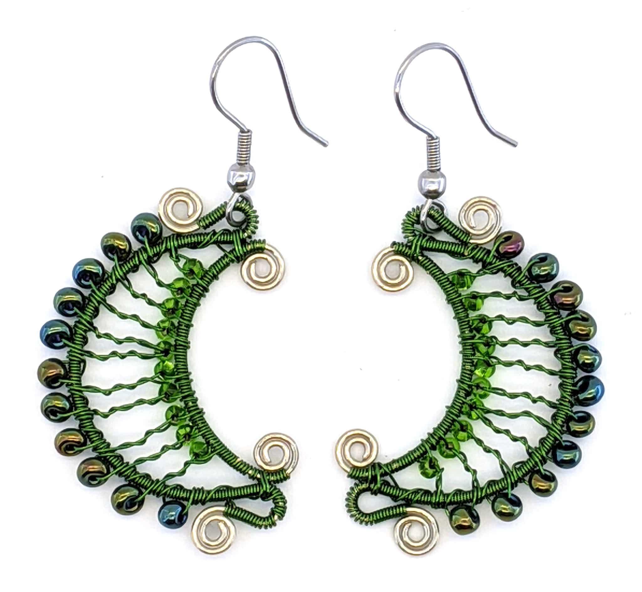 Crescent Moon Earrings - Green