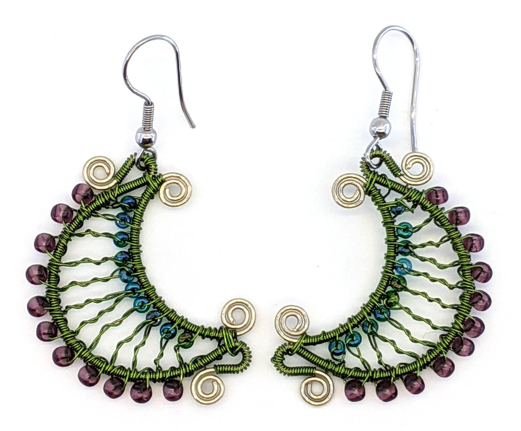 Crescent Moon Beaded Earrings - Wine Country