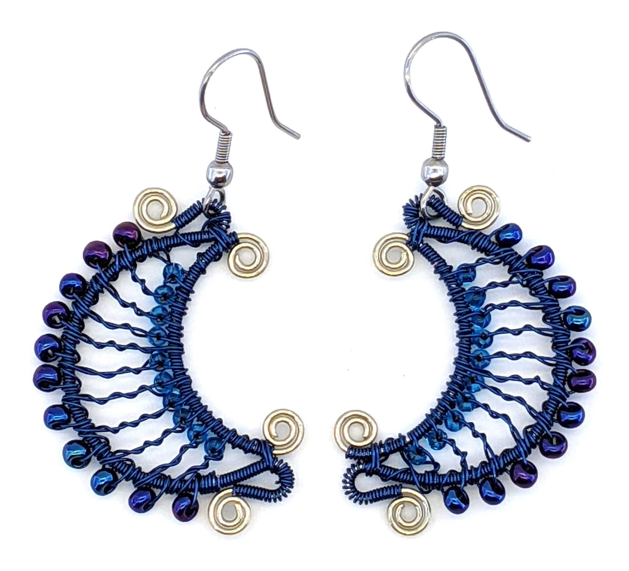 Crescent Moon Earrings - Blue