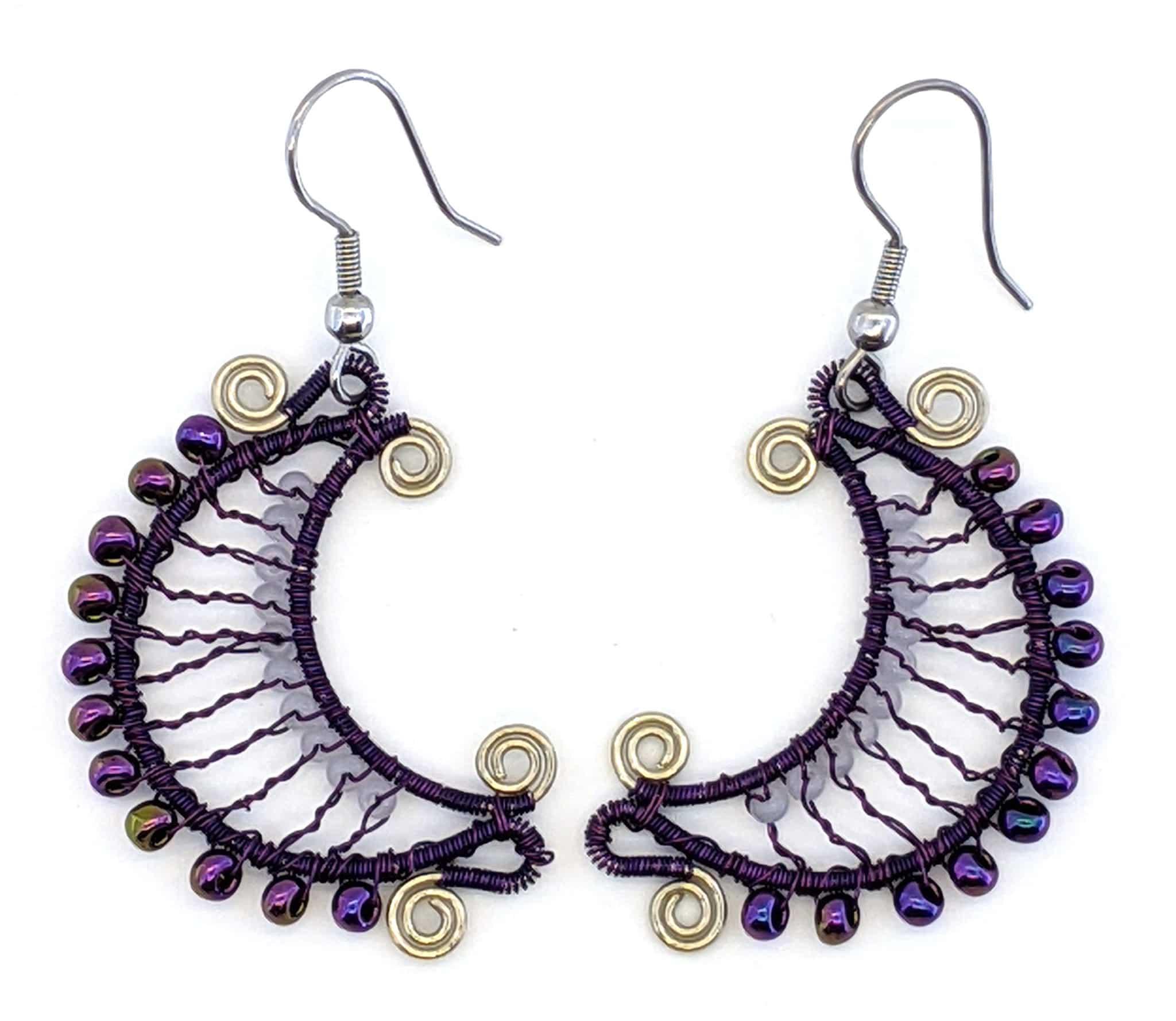 Crescent Moon Earrings - Purple