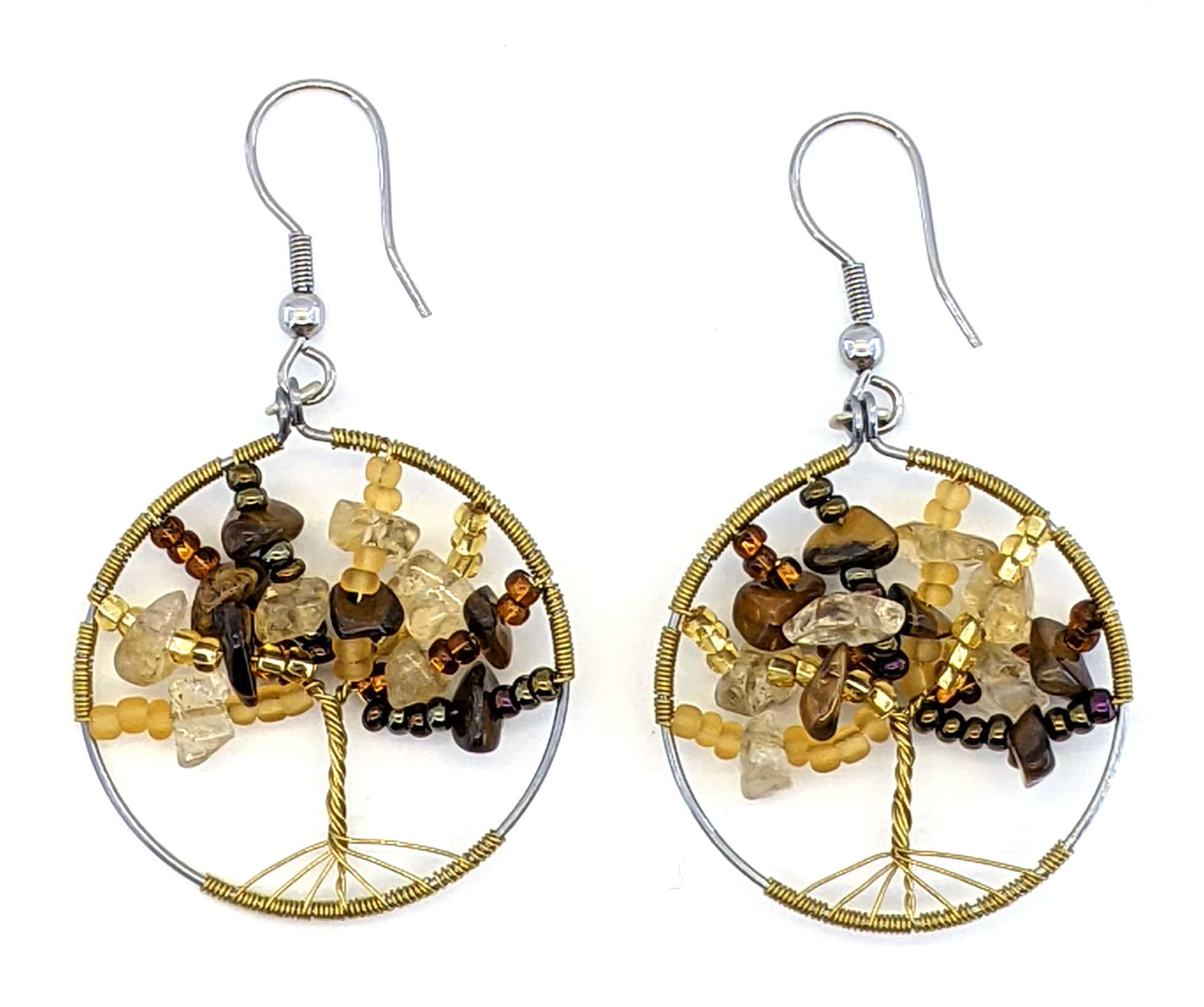Tree of Life Beaded Earrings - Golds