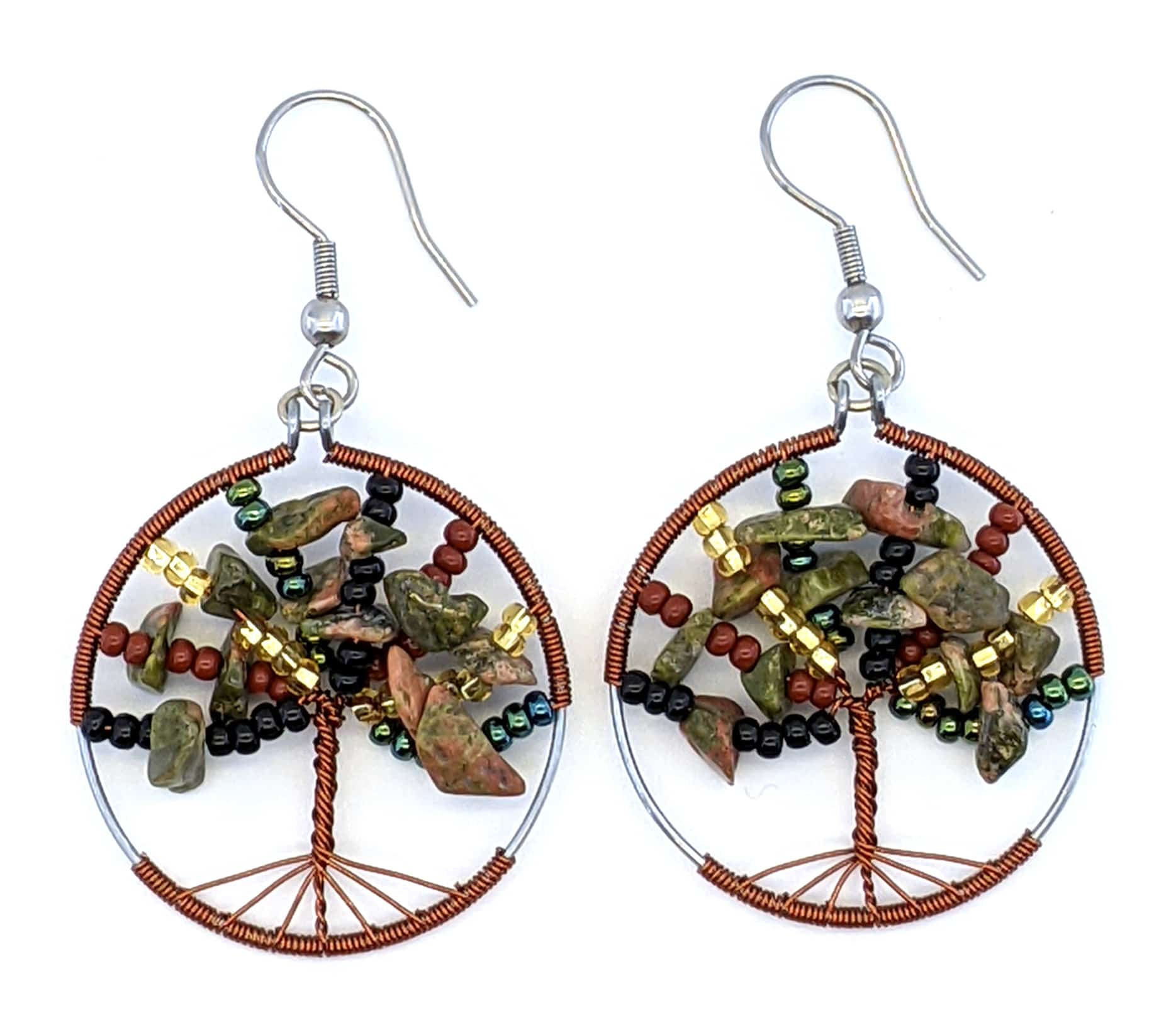 Tree of Life Beaded Earrings - Sophisticated Autumn