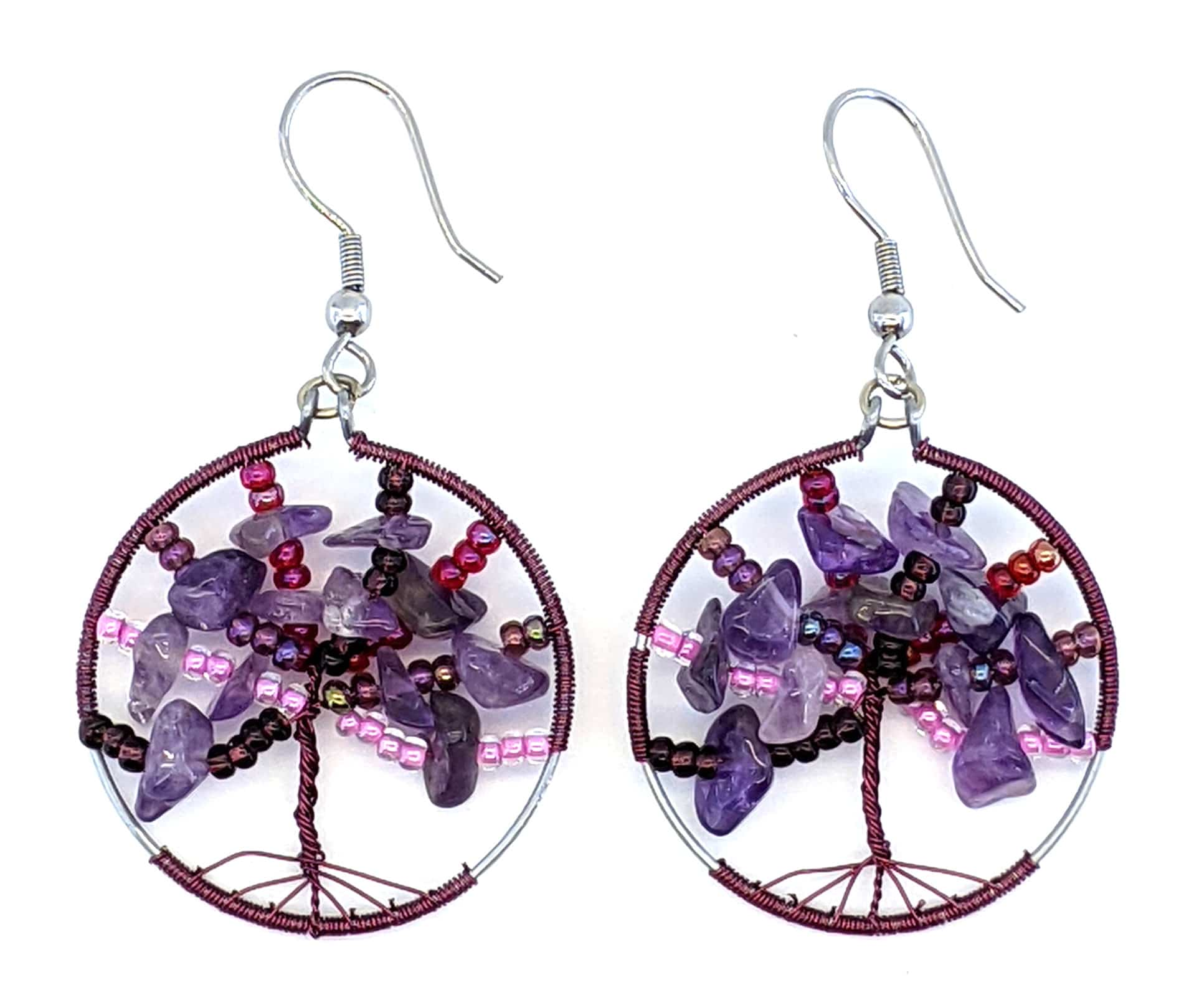 Tree of Life Beaded Earrings - Purples with Pink