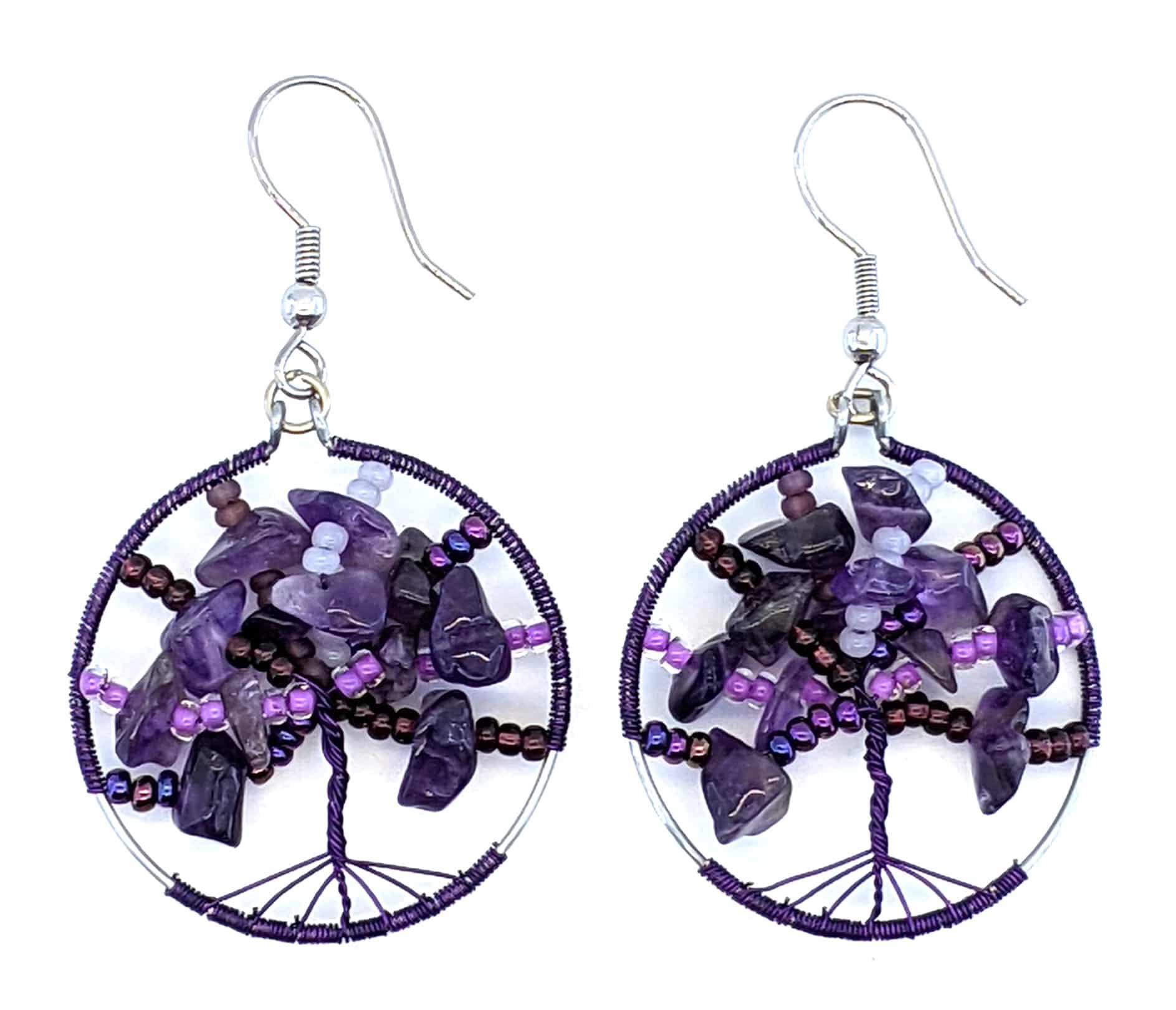 Tree of Life Beaded Earrings - Purples