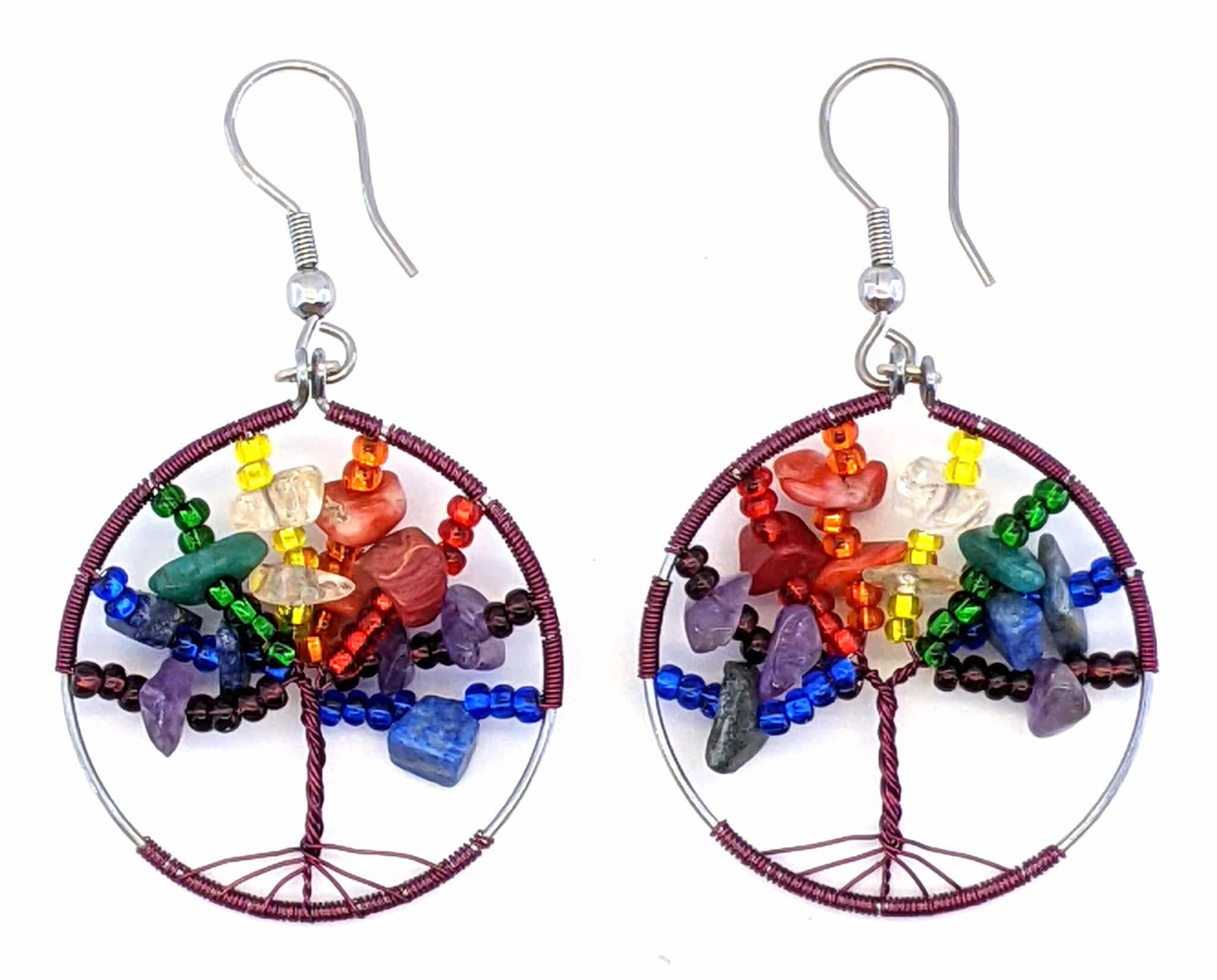 Tree of Life Beaded Earrings - Rainbow