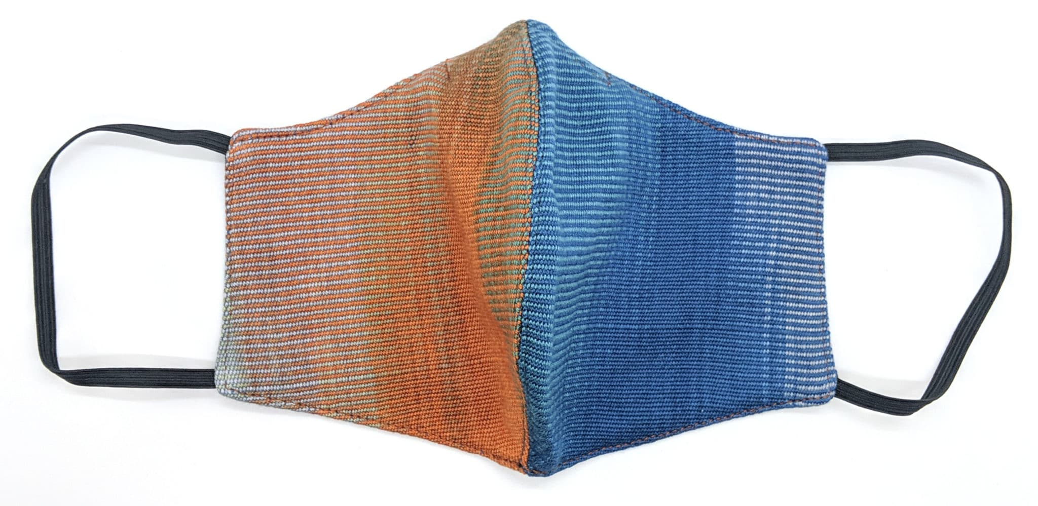 Handwoven Lightweight Bamboo Face Mask with Metal at Bridge of Nose - Blue, Orange, Gray