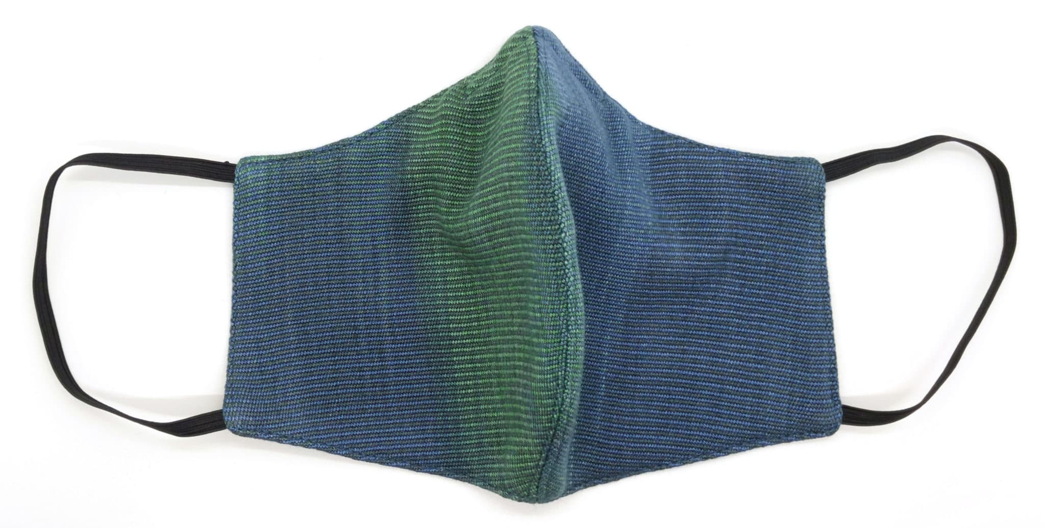 Handwoven Lightweight Bamboo Face Mask with Metal at Bridge of Nose - Sapphire and Emerald