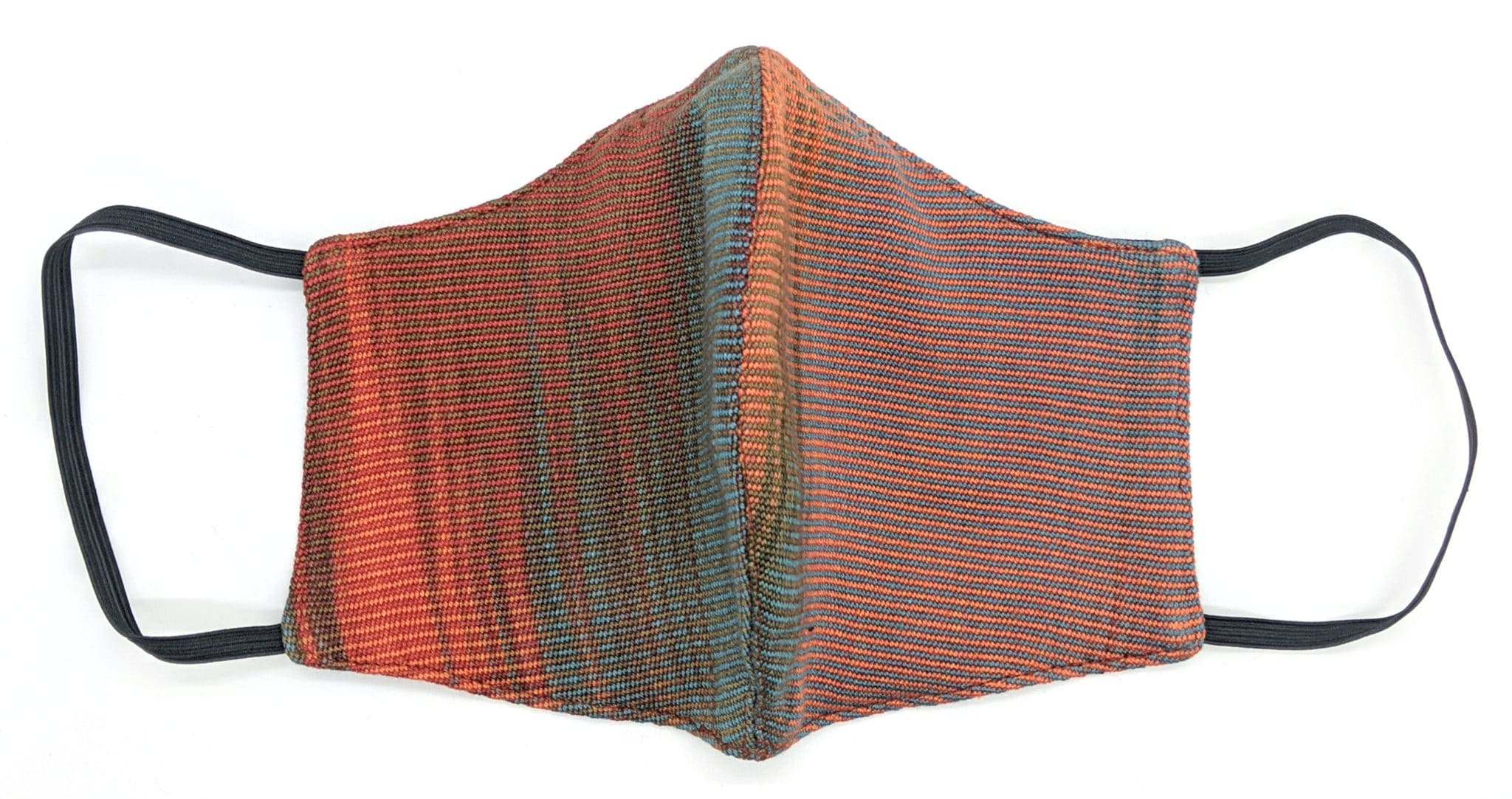Handwoven Lightweight Bamboo Face Mask with Metal at Bridge of Nose - Turquoise, Coral