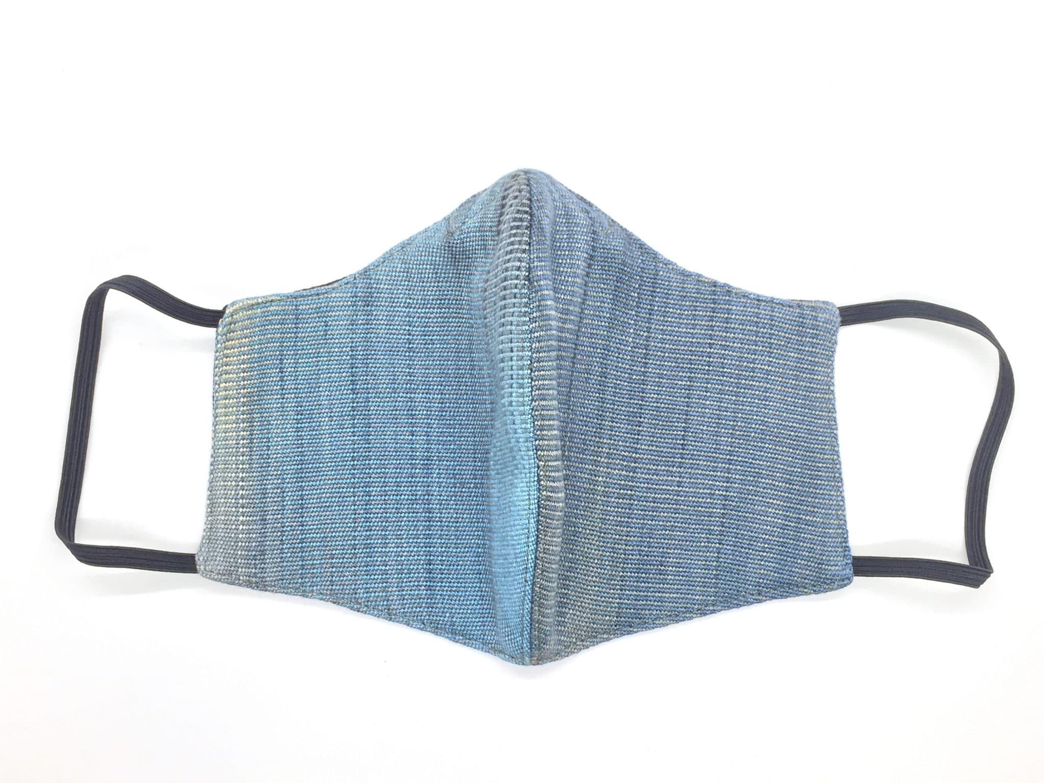 Handwoven Lightweight Bamboo Face Mask with Metal at Bridge of Nose - Denim - Blue, Black, Cream, Gray