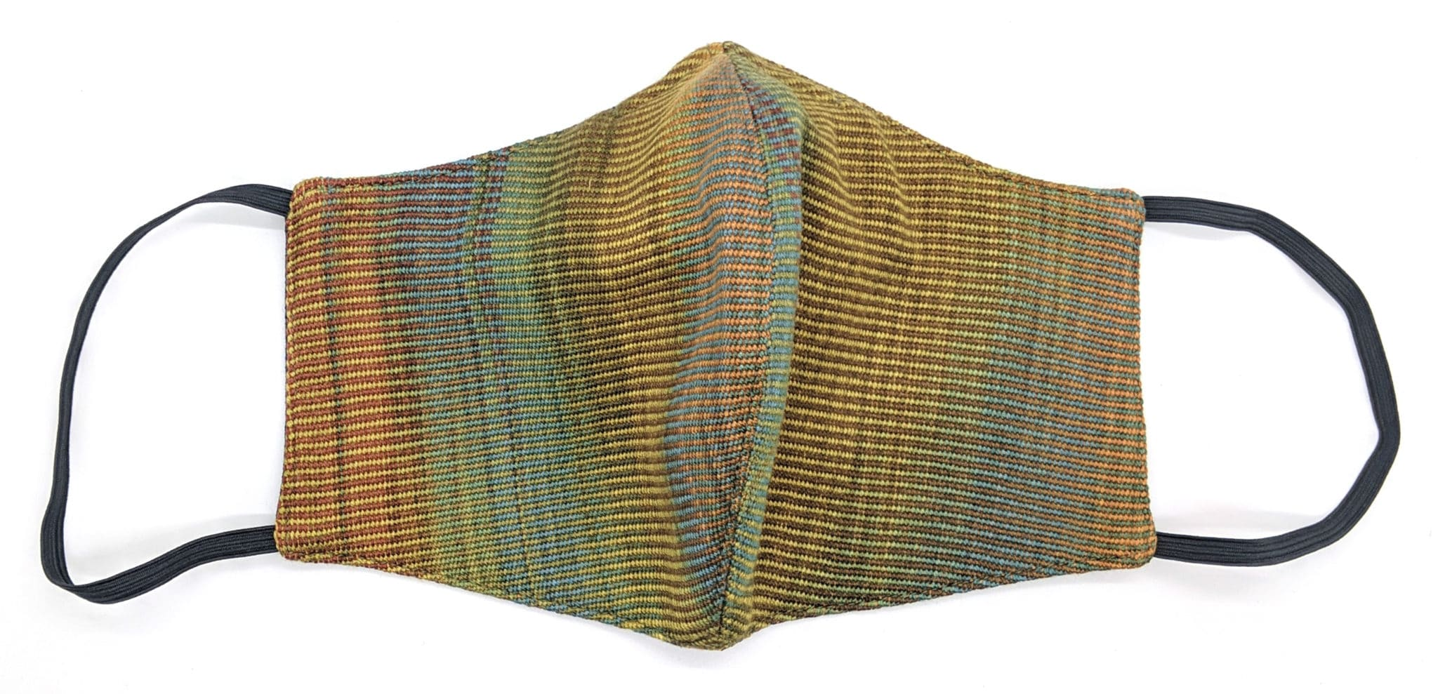 Handwoven Lightweight Bamboo Face Mask with Metal at Bridge of Nose - Autumn Rainbow