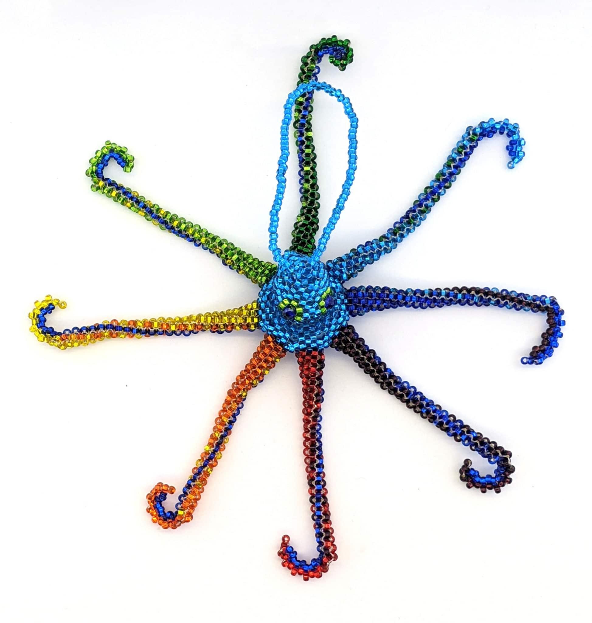 Octopus Beaded Ornament- Rainbow with Celestial Blue