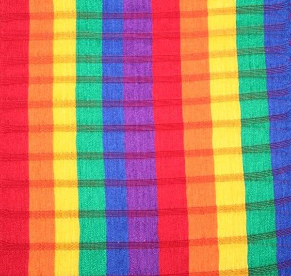 Rainbow Stripe Handwoven Open-Weave Cotton Scarf
