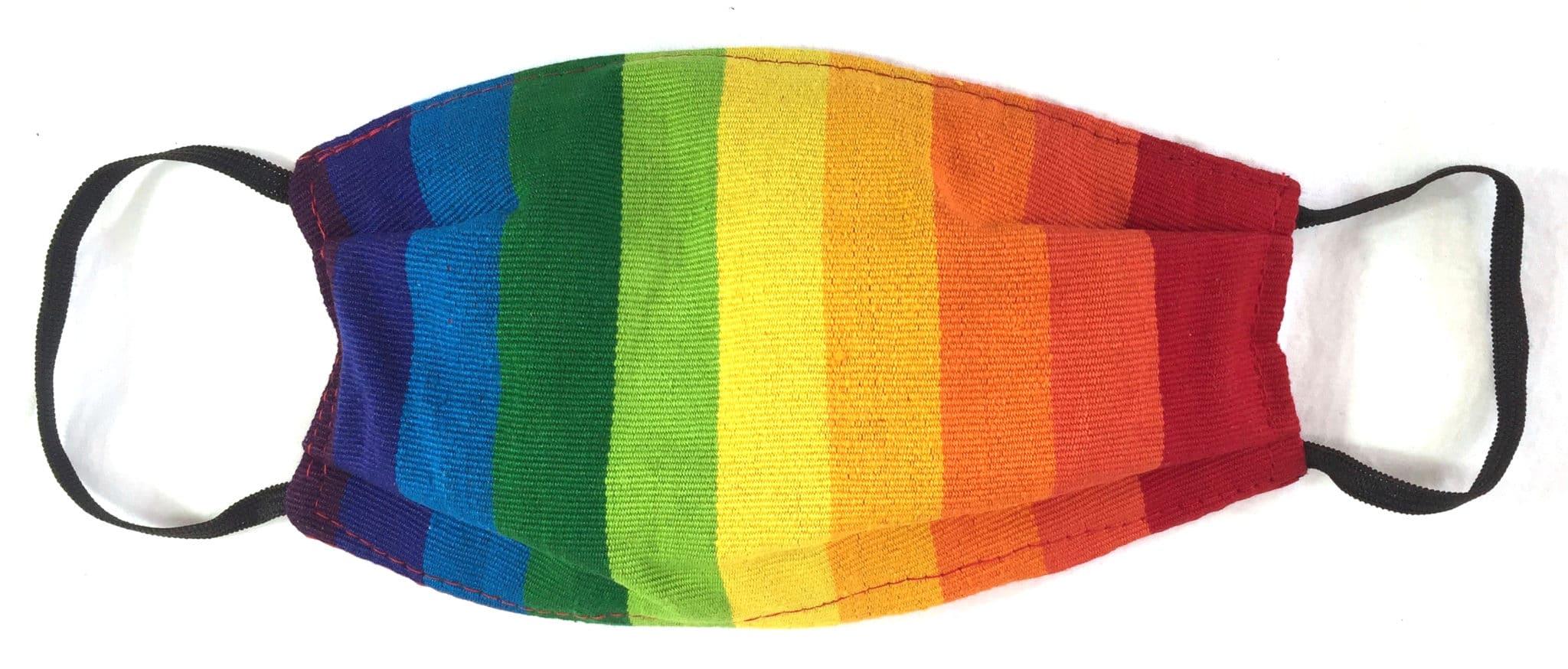 Rainbow Stripe Handwoven Pleated Cotton Mask