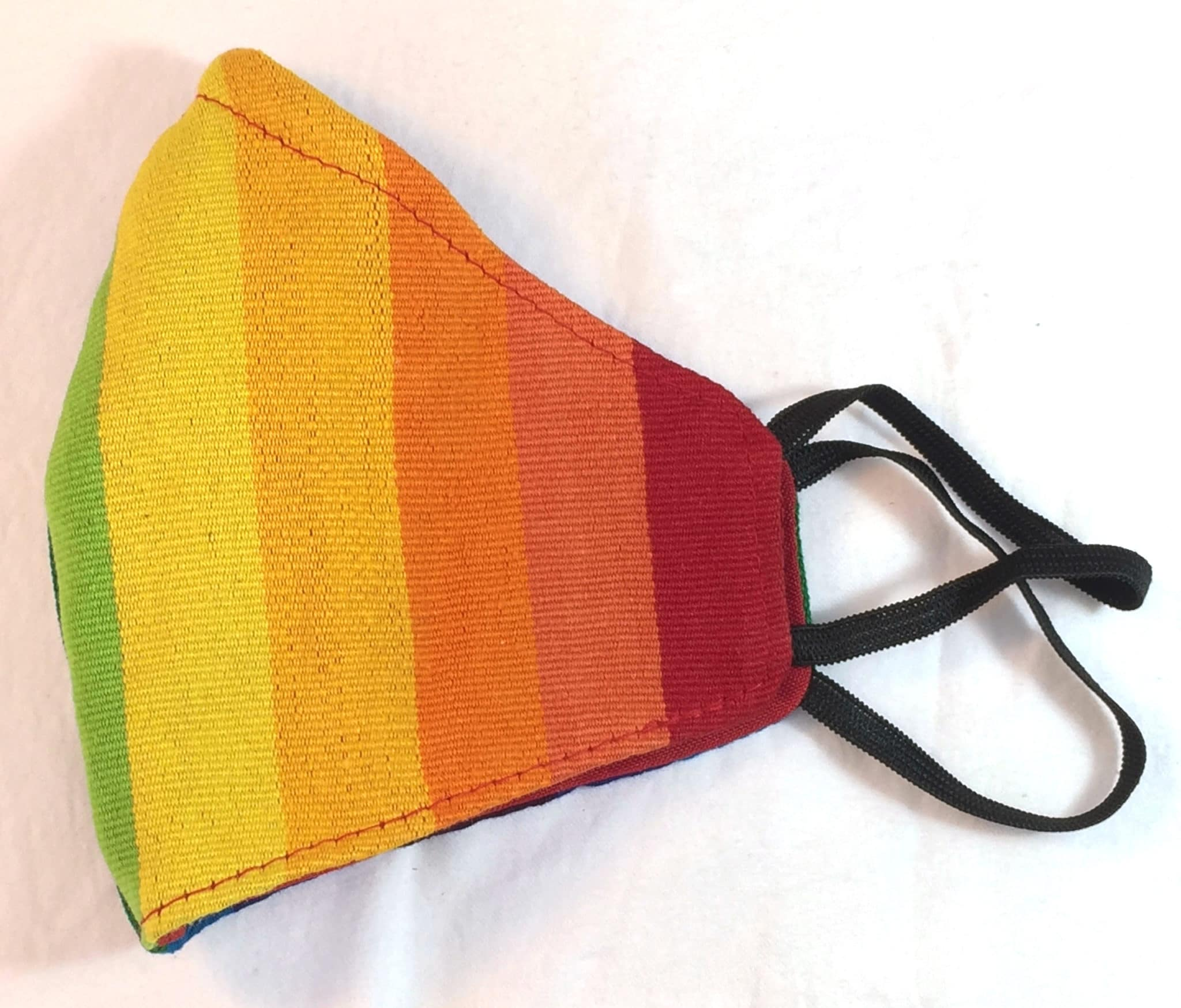 Red, Orange, Yellow, Lime Stripe Handwoven Fitted Cotton Mask