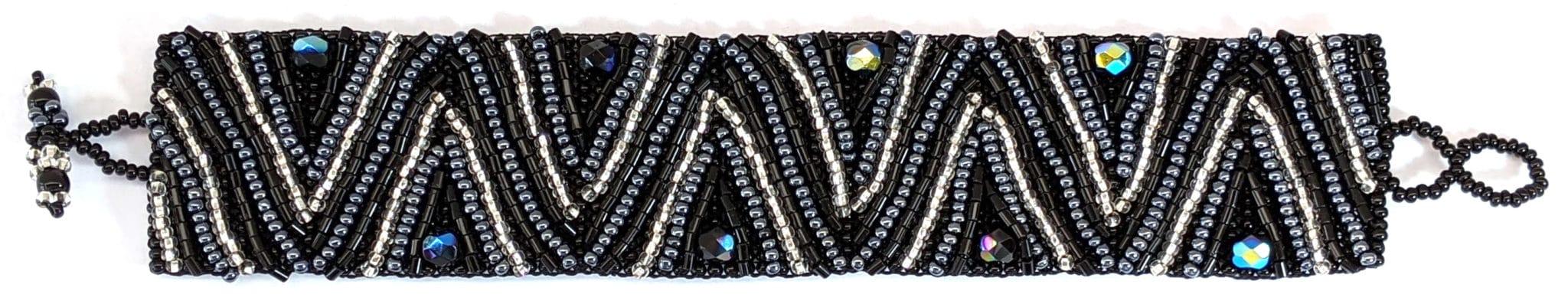 Volcanos and Stars Beaded Bracelet - Black, White, Hematite Gray