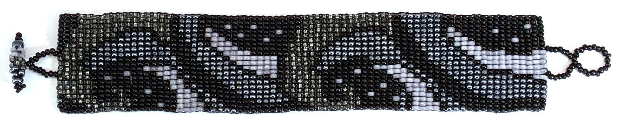 Art Nouveau Beaded Bracelet - Dark Grays
