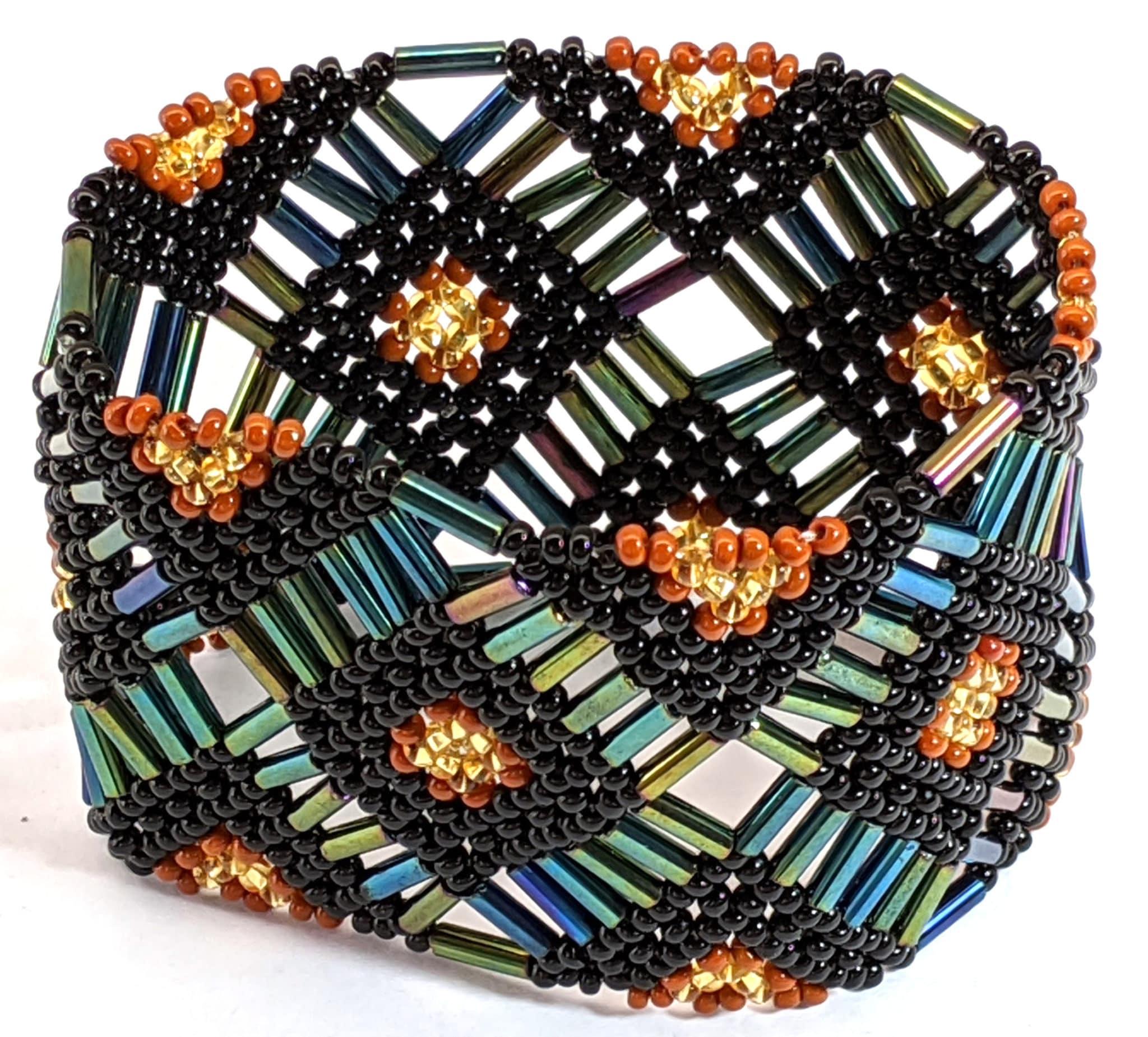 Beaded Elastic Geometric Cuff - Sophisticated Autumn - Dark