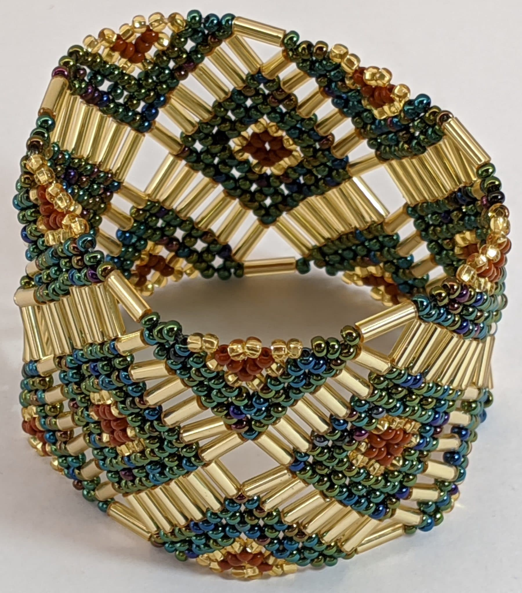 Beaded Elastic Geometric Cuff - Sophisticated Autumn - Light