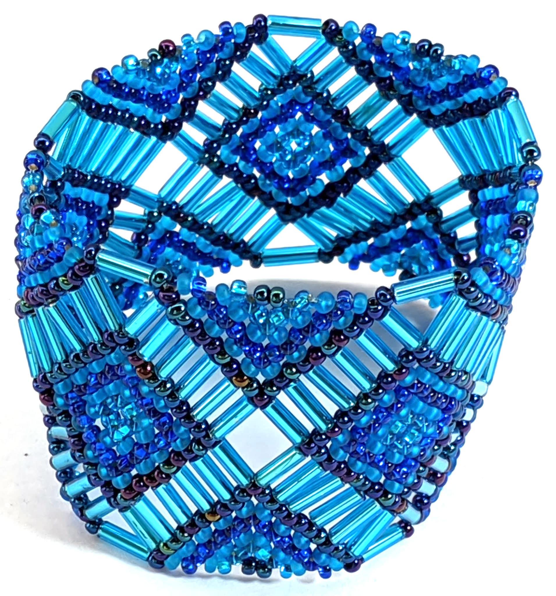 Beaded Elastic Geometric Cuff - Blues
