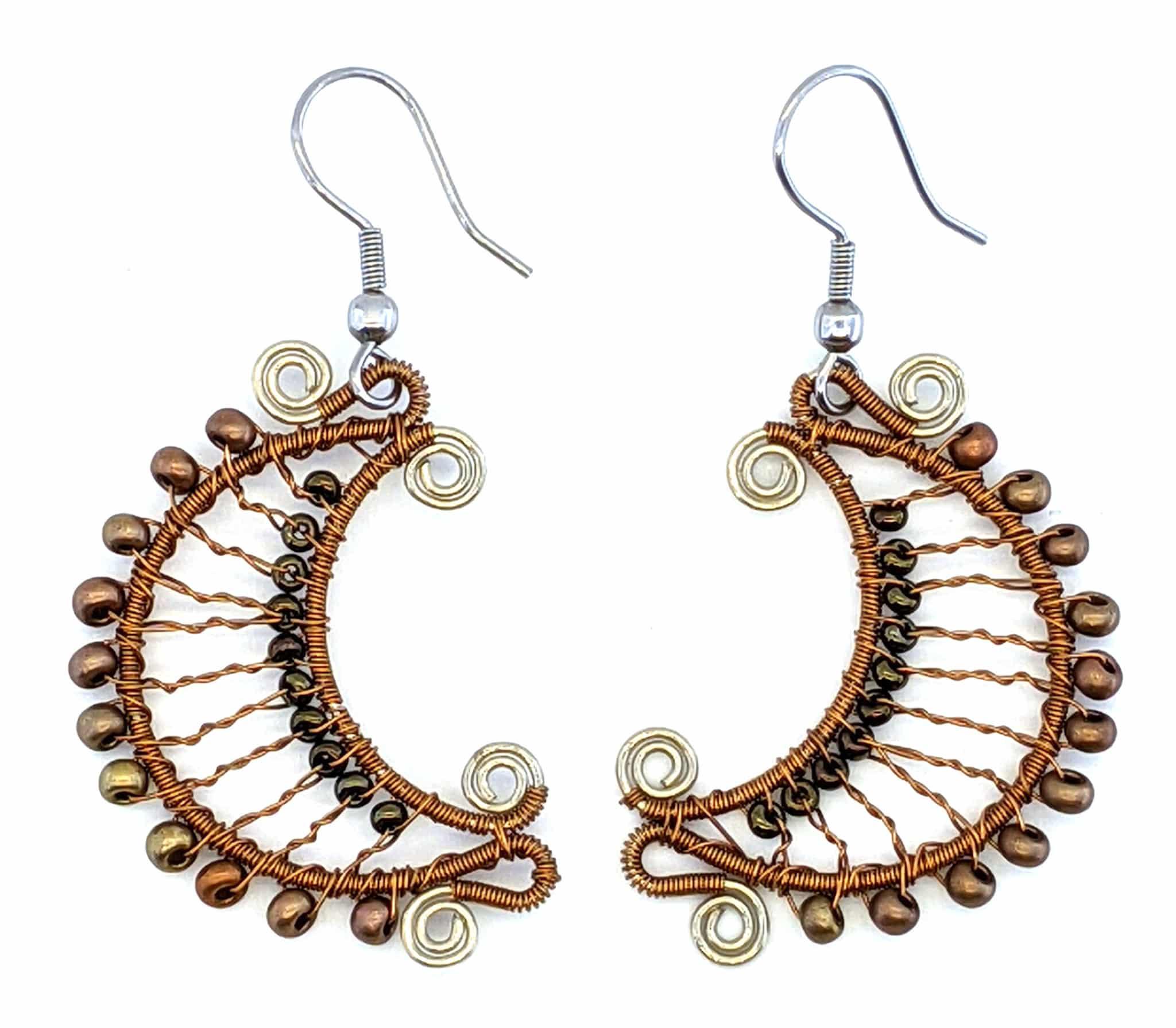 Crescent Moon Beaded Earrings - Bronze