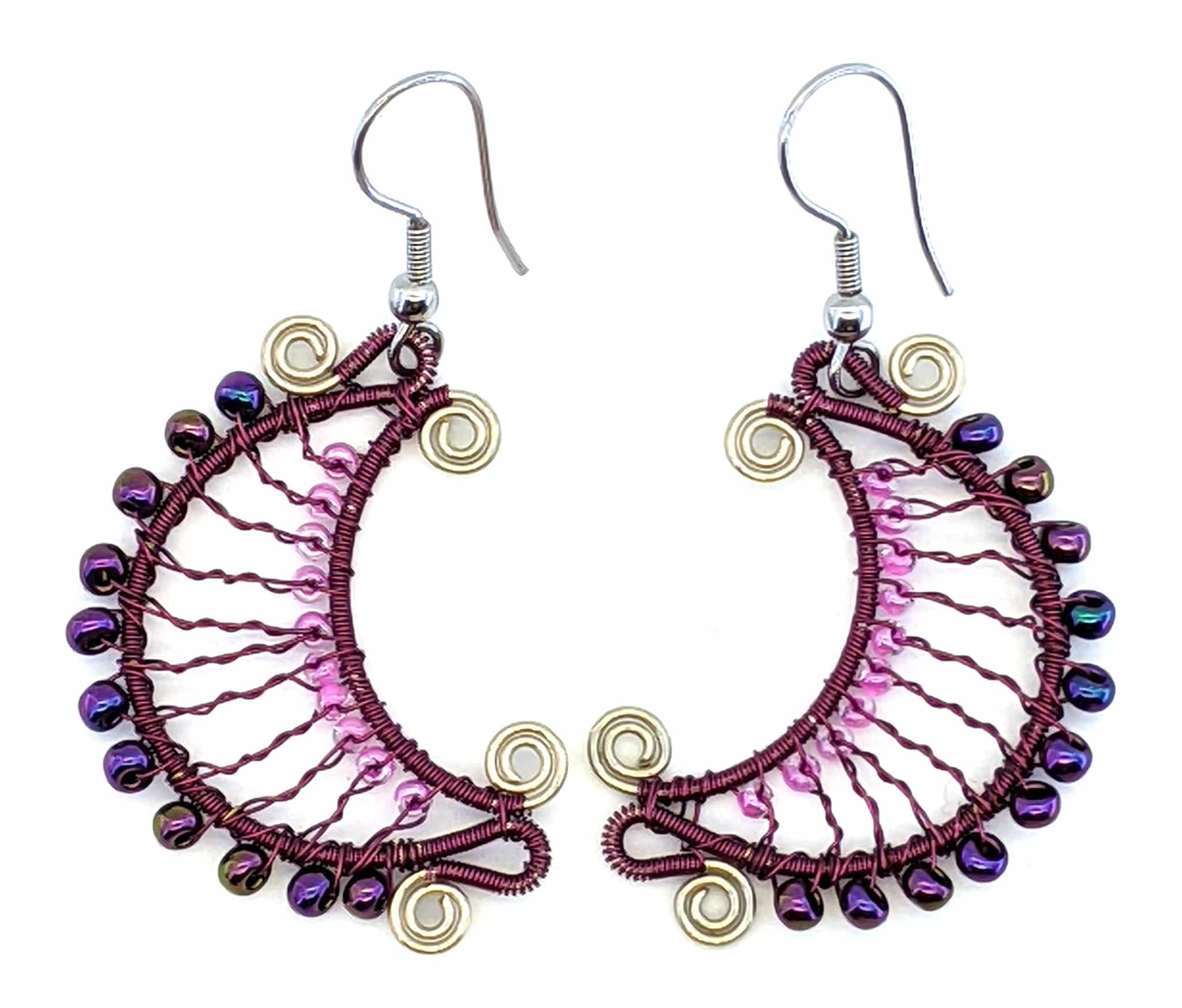 Crescent Moon Beaded Earrings - Purple with Pink