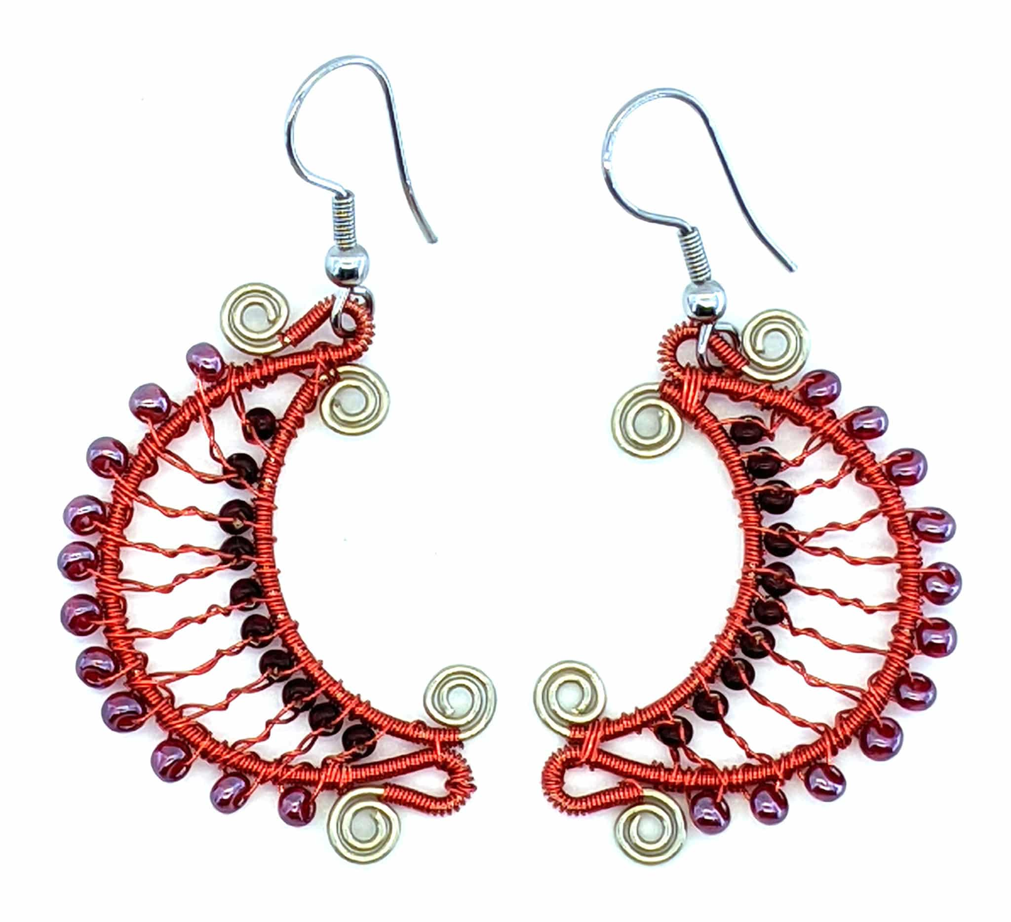 Crescent Moon Beaded Earrings - Reds