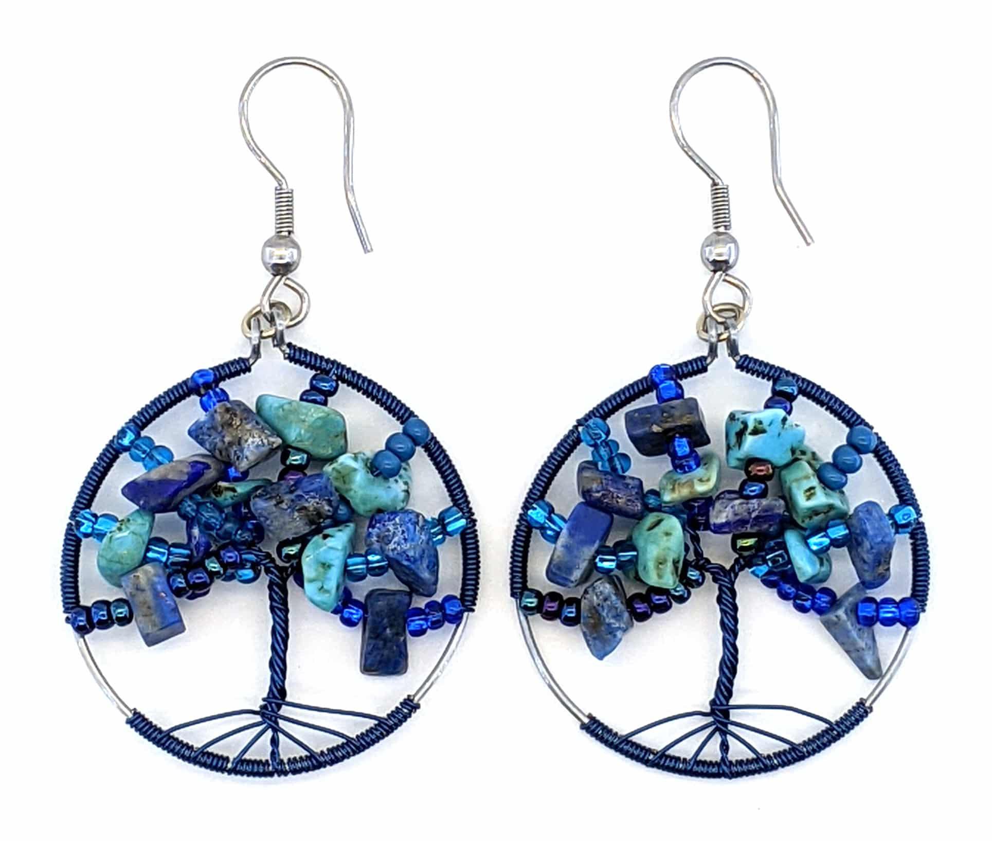 Tree of Life Beaded Earrings - Blues