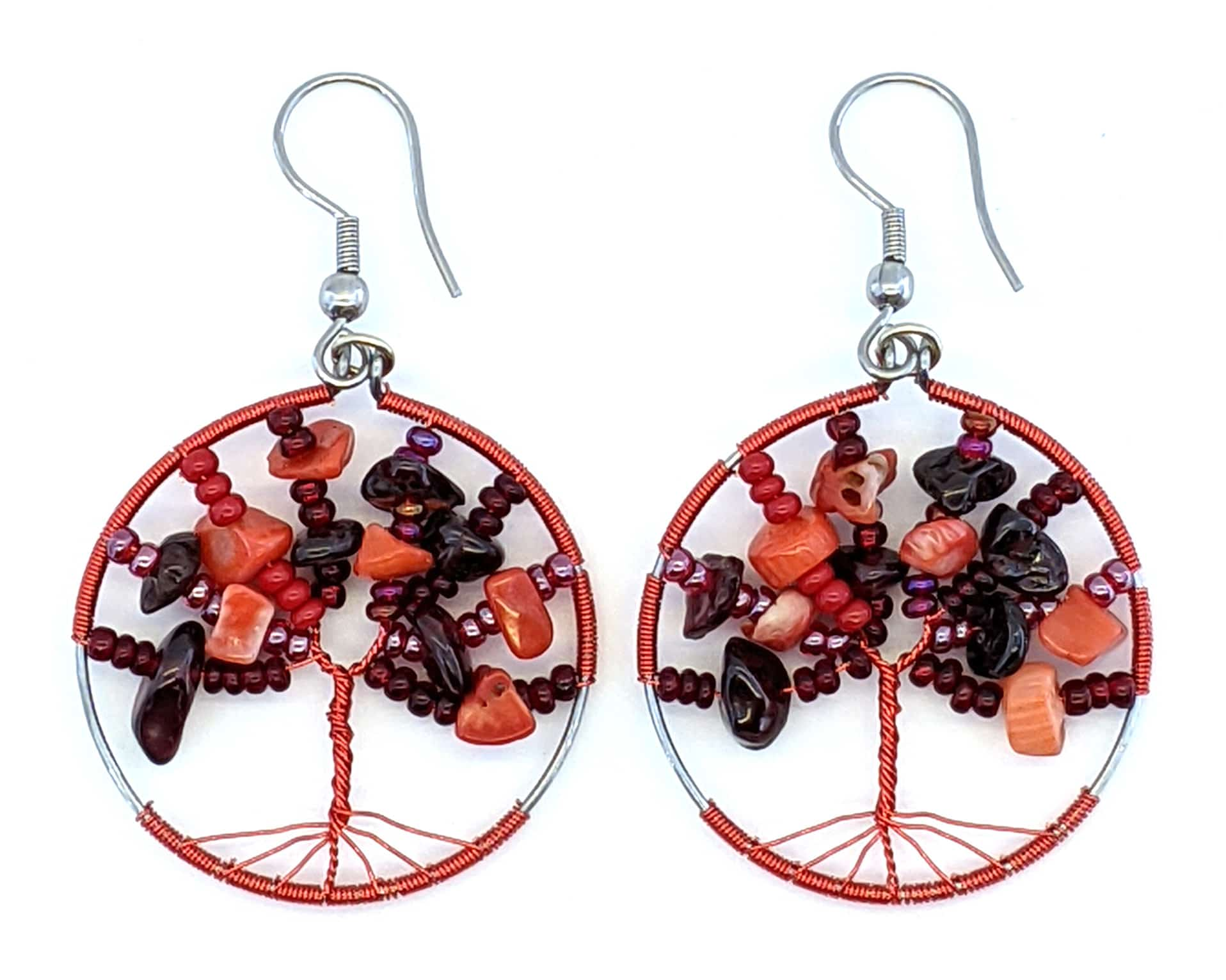 Tree of Life Beaded Earrings - Reds