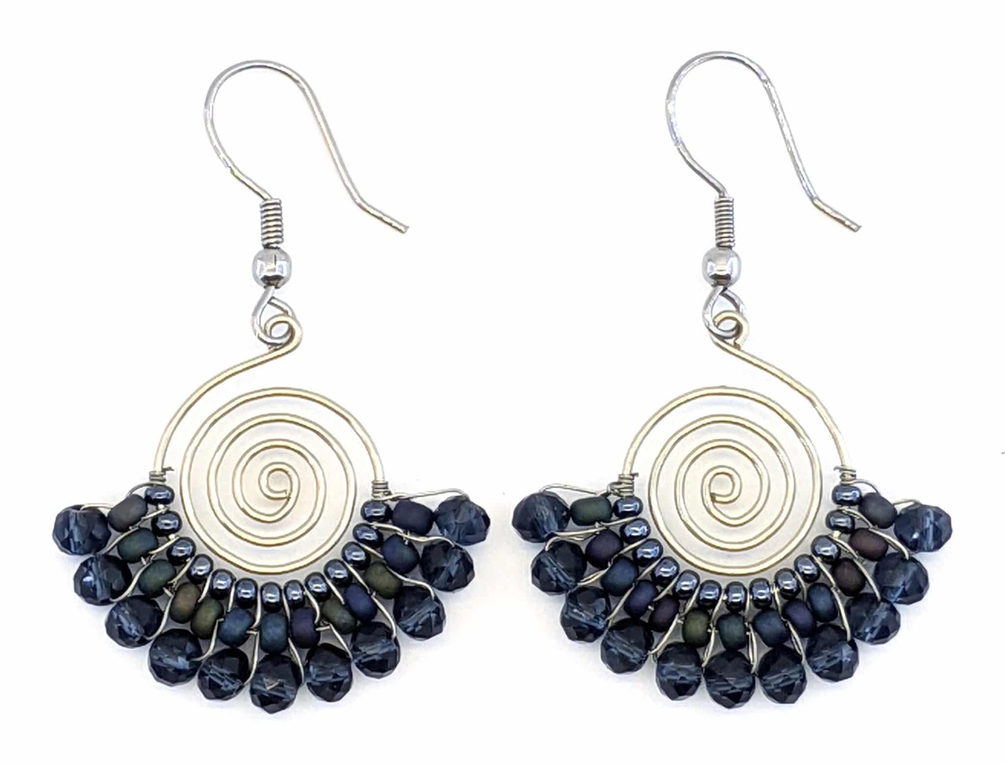 Spiral Skirt Beaded Earrings - Dark Grays and Black