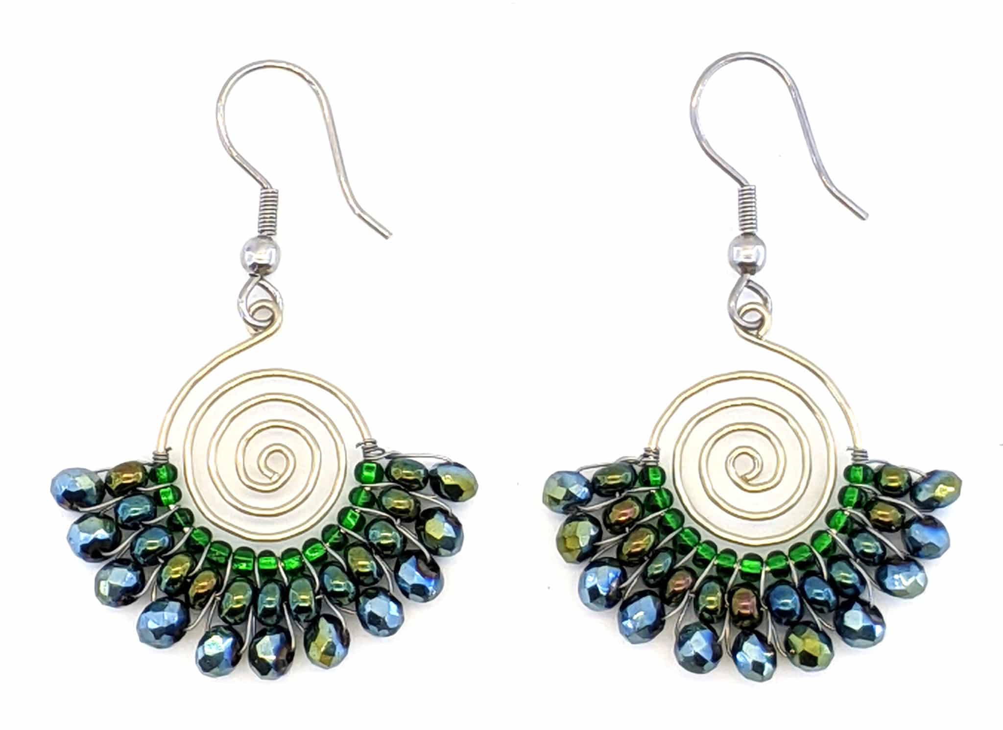 Spiral Skirt Beaded Earrings - Greens