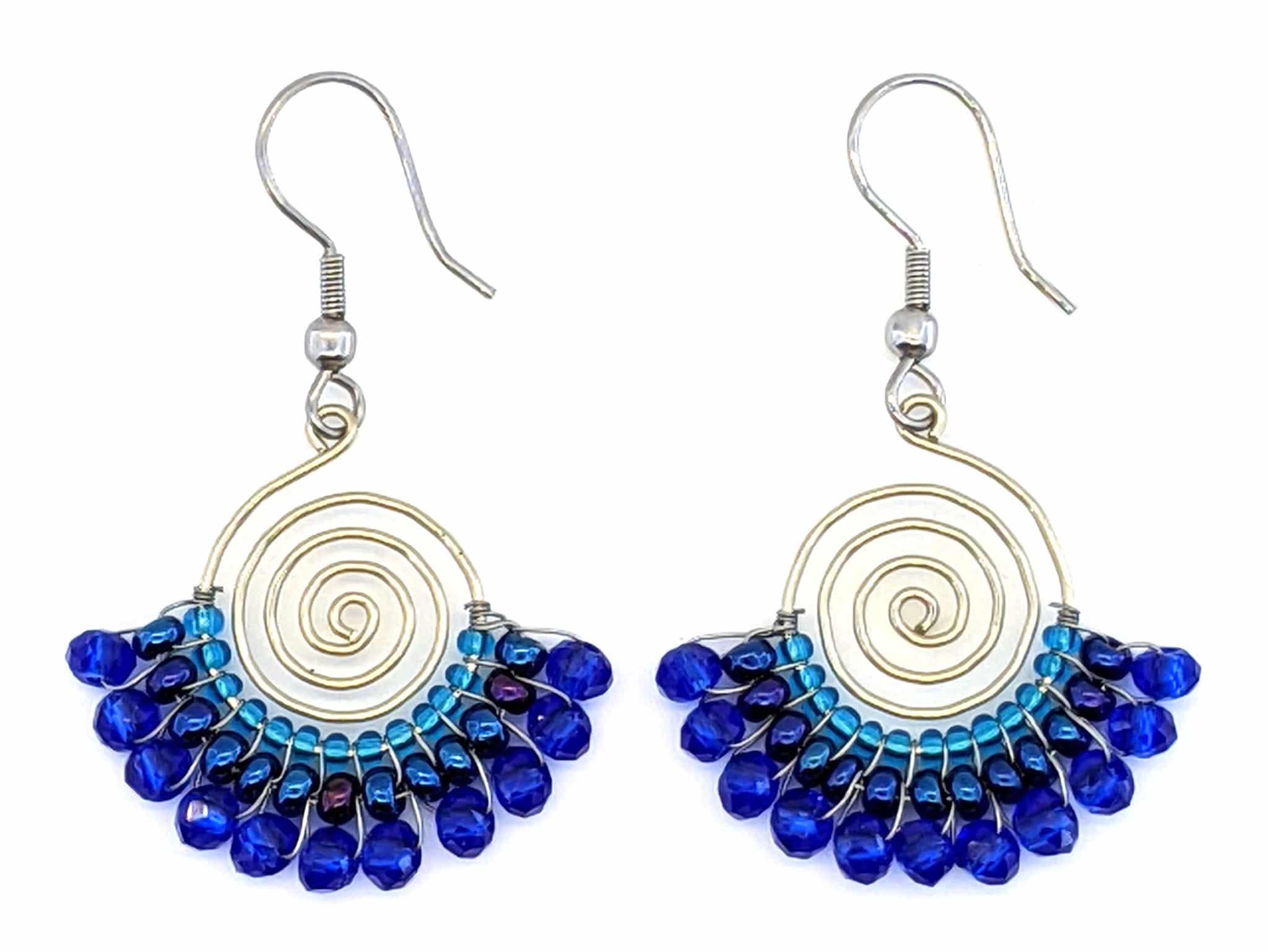 Spiral Skirt Beaded Earrings - Blues