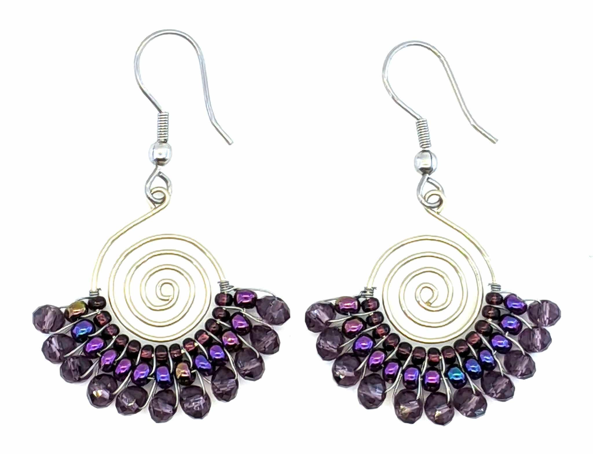 Spiral Skirt Beaded Earrings - Purples