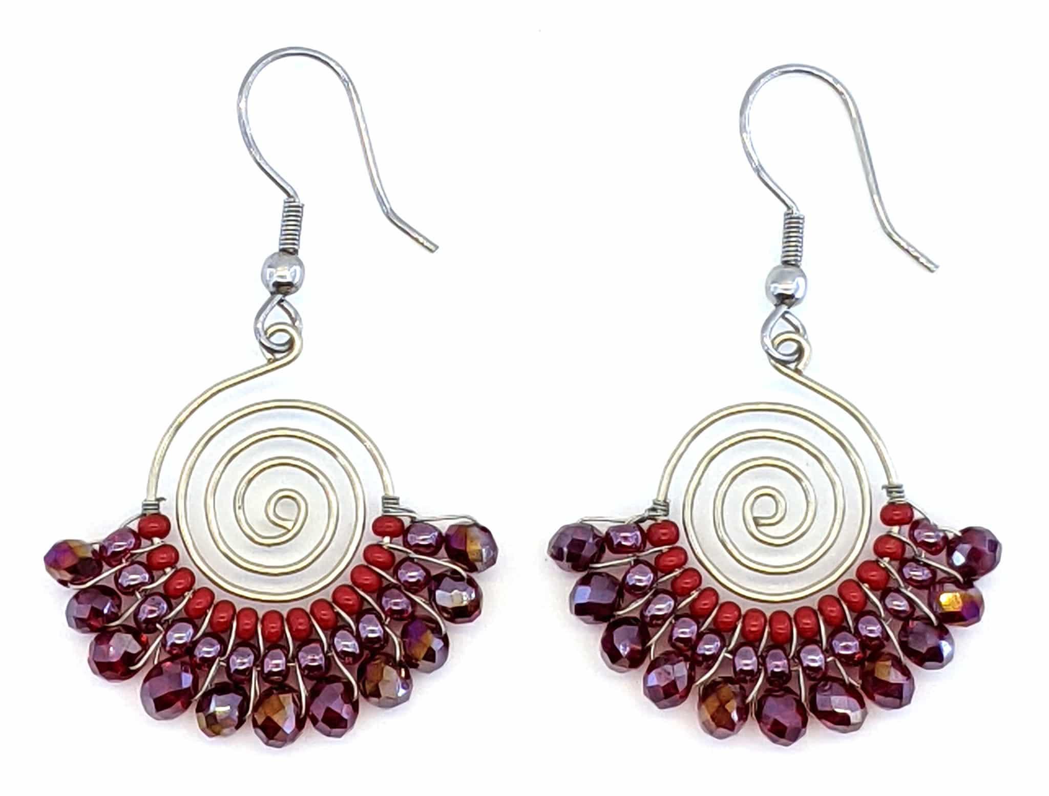 Spiral Skirt Beaded Earrings - Reds