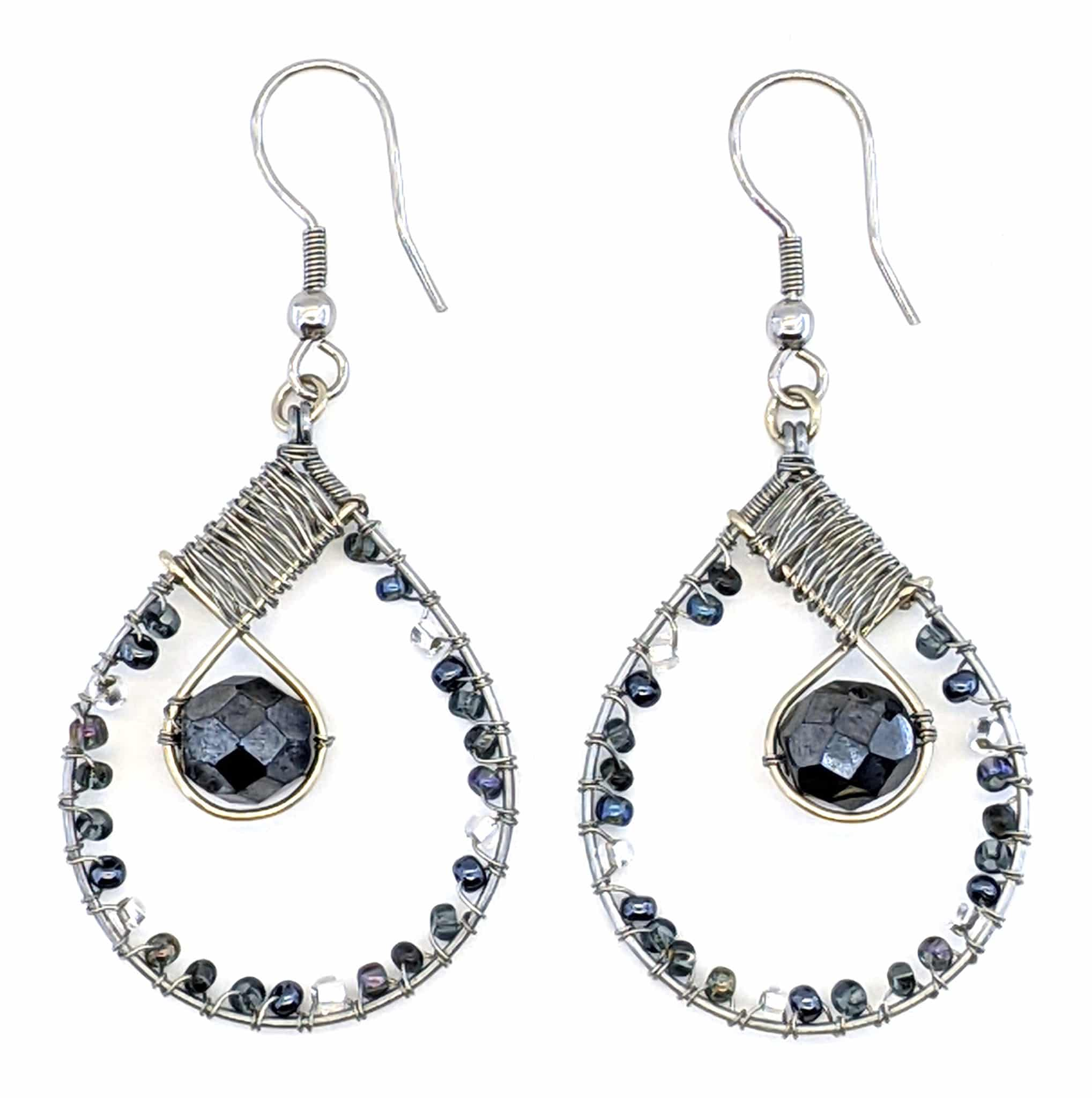 Teardrop with Crystal Beaded Earrings - Grays