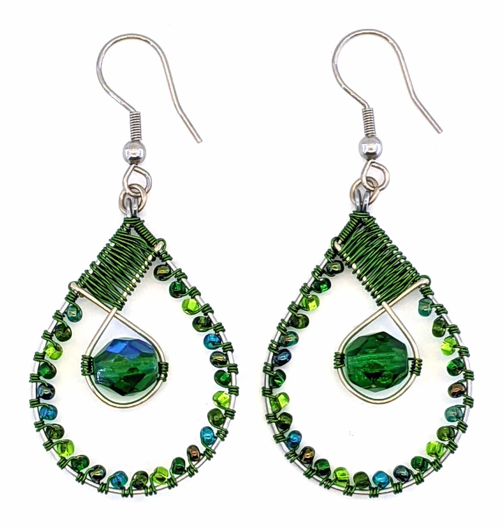 Teardrop with Crystal Beaded Earrings - Forest Greens