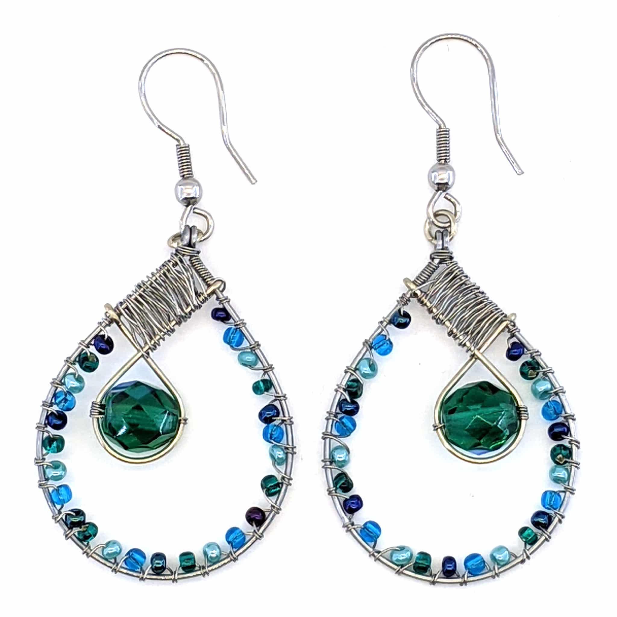 Teardrop with Crystal Beaded Earrings - Celestial Blues and Teal