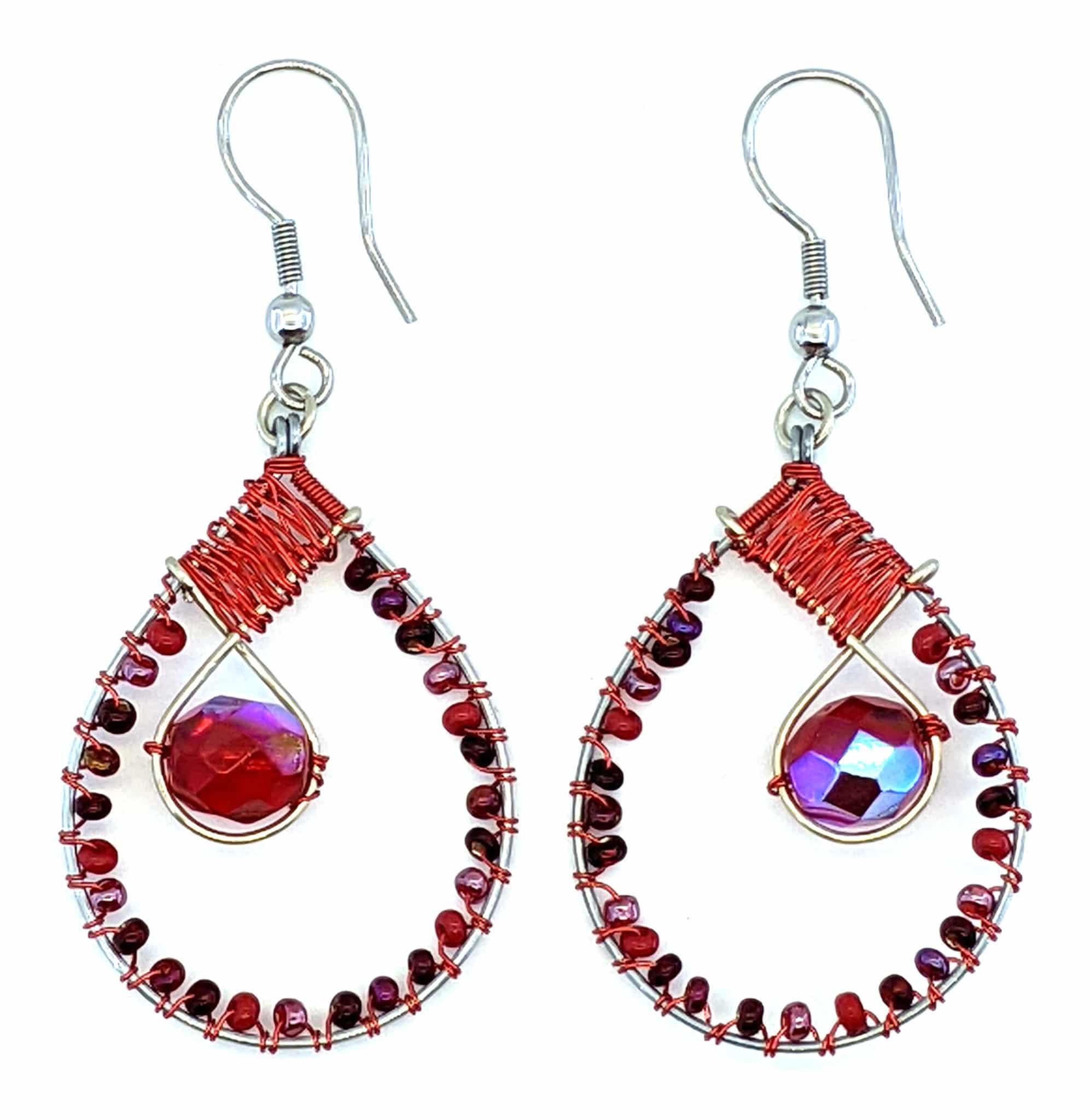 Teardrop with Crystal Beaded Earrings - Reds