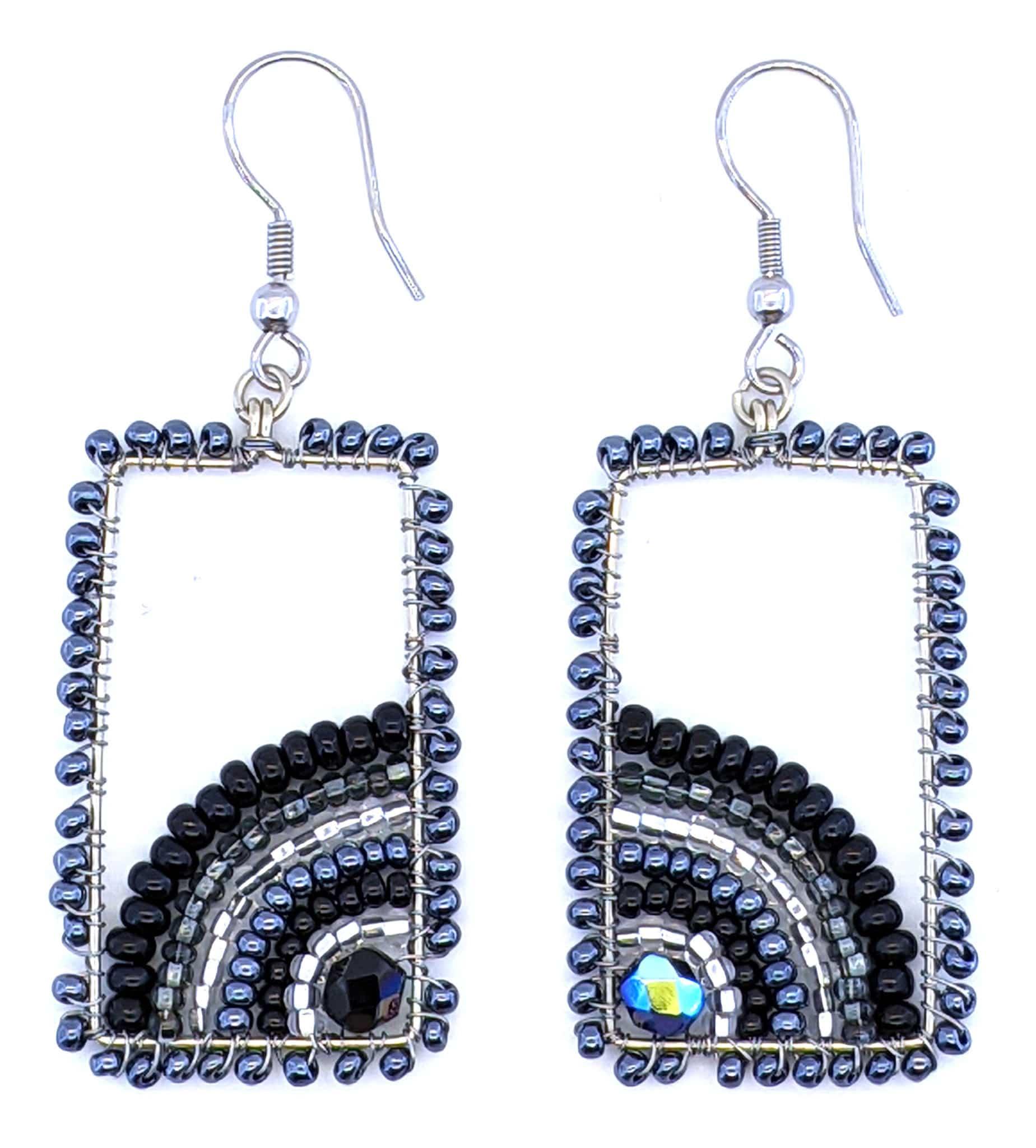 Sunrise Beaded Earrings - Black, White, Grays