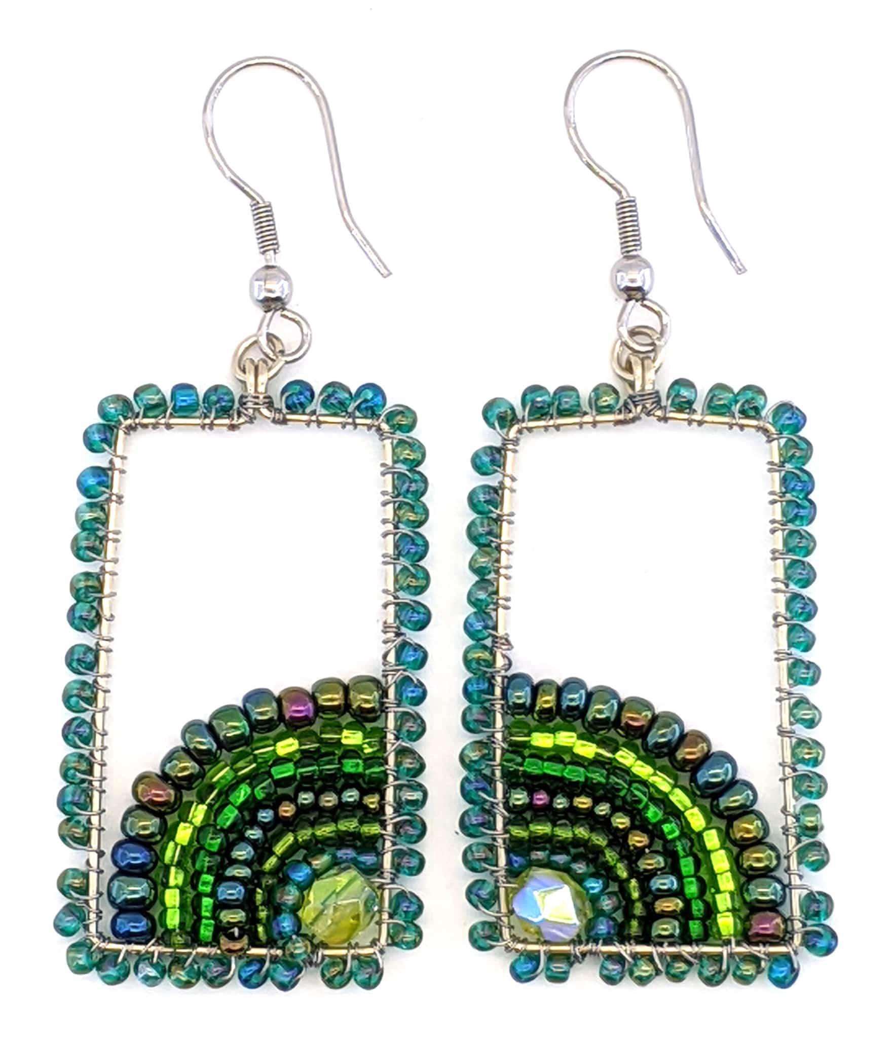 Sunrise Beaded Earrings - Greens